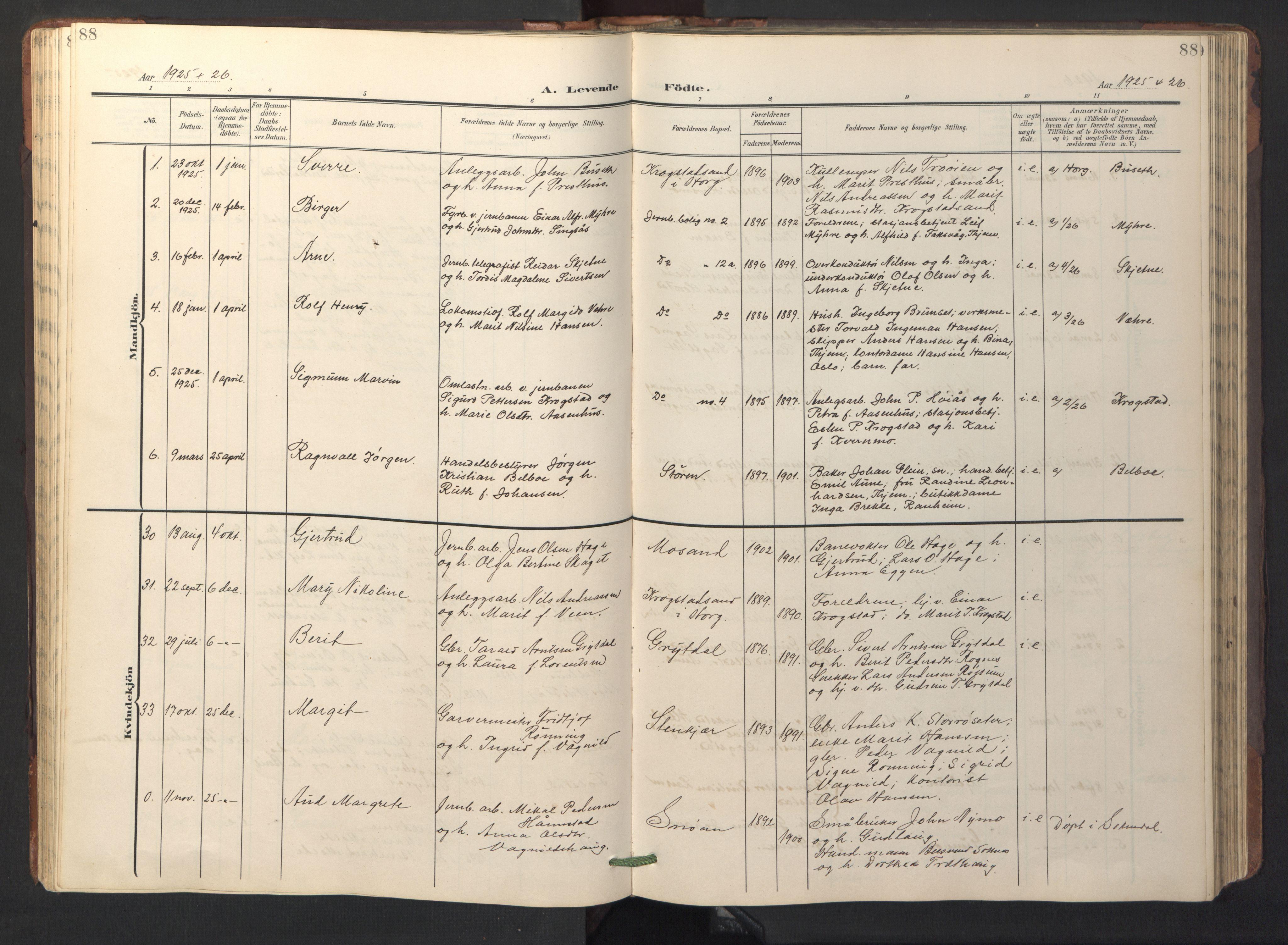 SAT, Ministerialprotokoller, klokkerbøker og fødselsregistre - Sør-Trøndelag, 687/L1019: Klokkerbok nr. 687C03, 1904-1931, s. 88