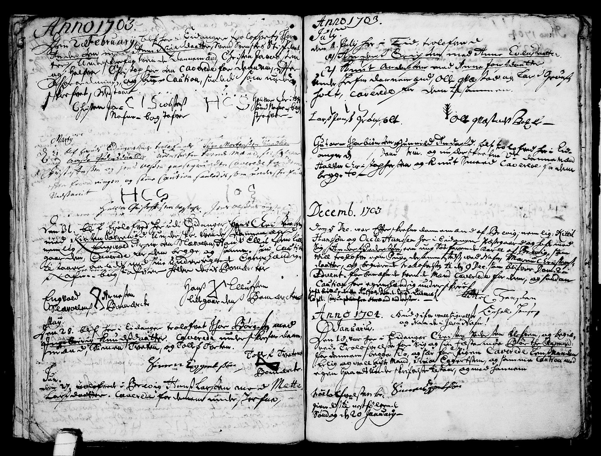 SAKO, Eidanger kirkebøker, F/Fa/L0001: Ministerialbok nr. 1, 1695-1717, s. 21