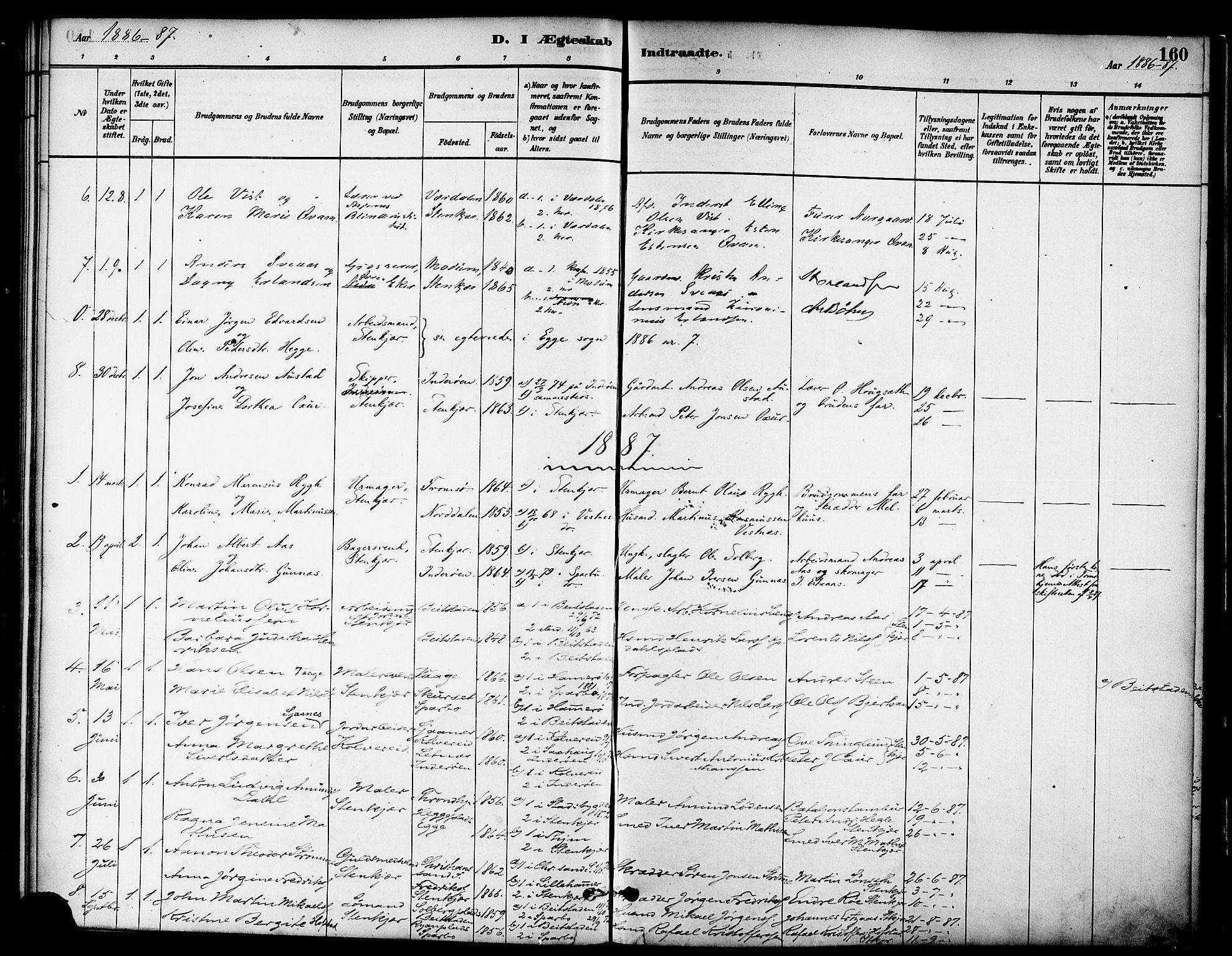 SAT, Ministerialprotokoller, klokkerbøker og fødselsregistre - Nord-Trøndelag, 739/L0371: Ministerialbok nr. 739A03, 1881-1895, s. 160