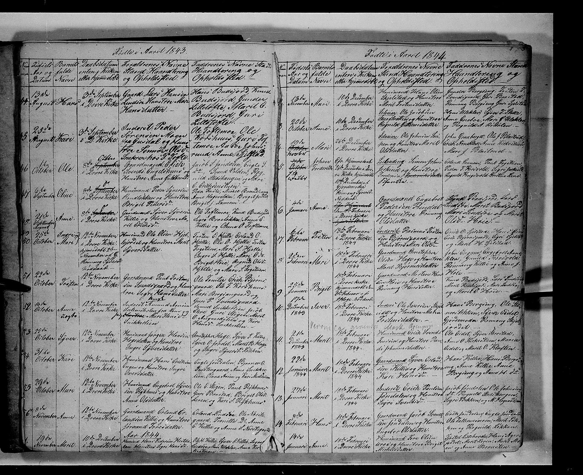SAH, Lesja prestekontor, Klokkerbok nr. 3, 1842-1862, s. 12-13