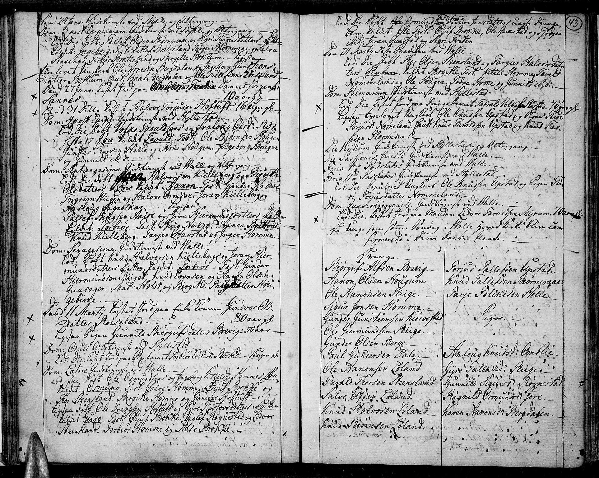 SAK, Valle sokneprestkontor, F/Fa/Fac/L0003: Ministerialbok nr. A 3, 1776-1790, s. 43