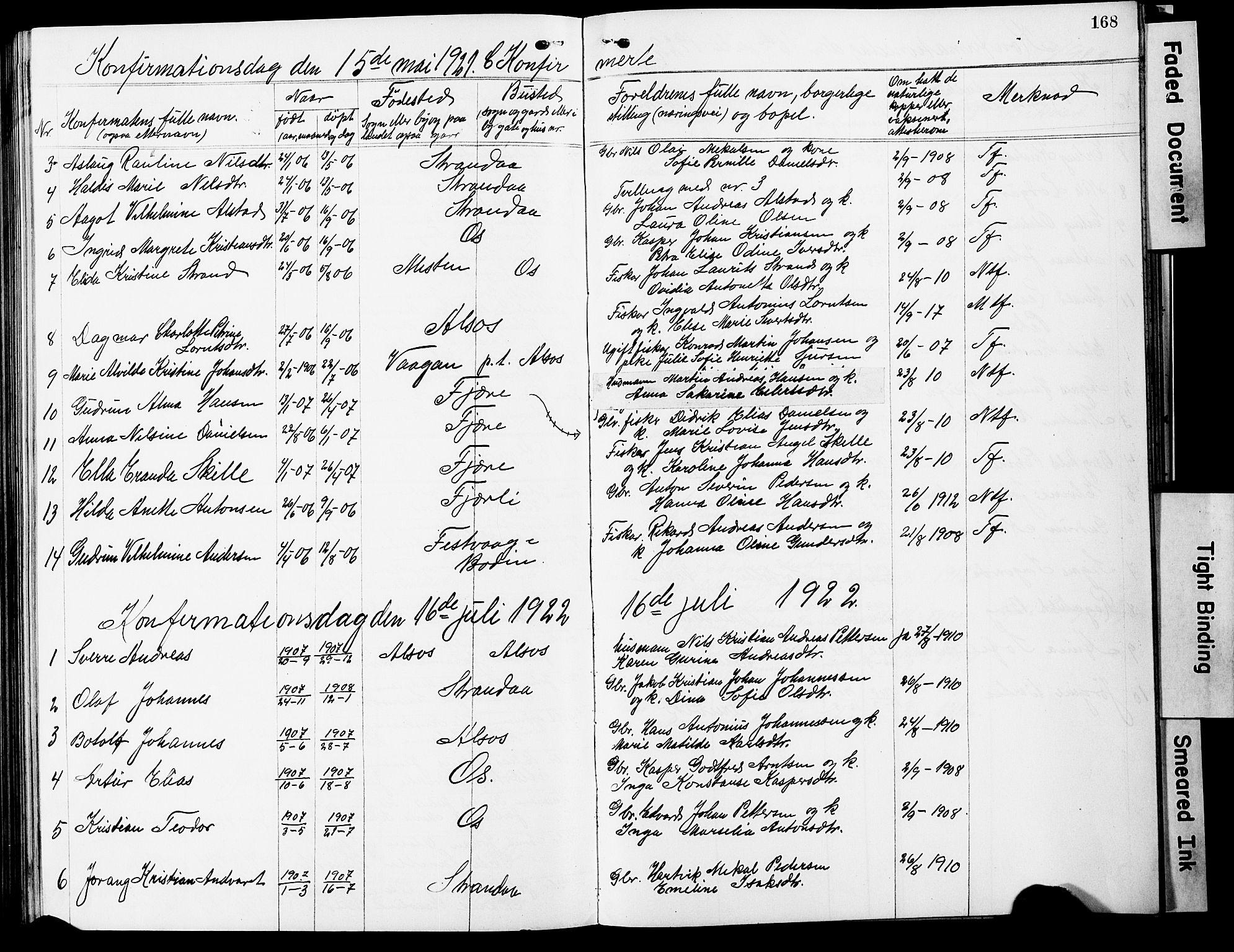 SAT, Ministerialprotokoller, klokkerbøker og fødselsregistre - Nordland, 803/L0077: Klokkerbok nr. 803C04, 1897-1930, s. 168