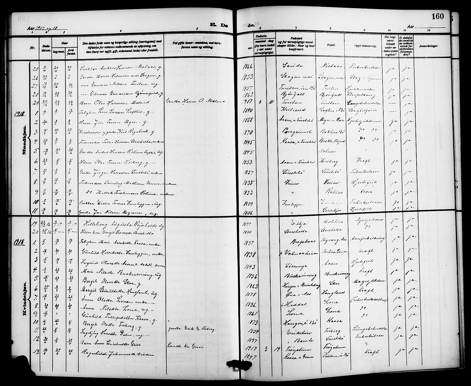 SAKO, Bø kirkebøker, G/Ga/L0007: Klokkerbok nr. 7, 1909-1924, s. 160