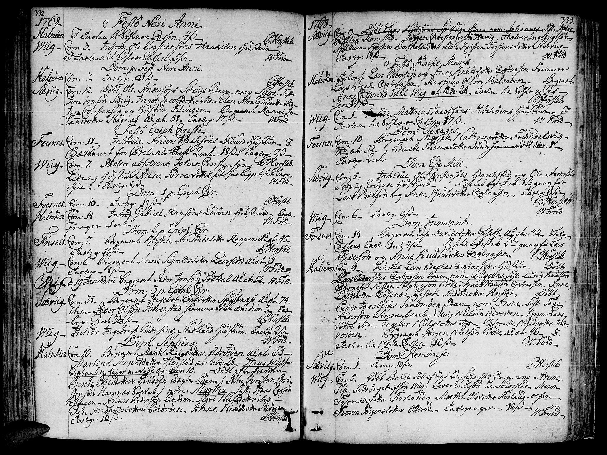 SAT, Ministerialprotokoller, klokkerbøker og fødselsregistre - Nord-Trøndelag, 773/L0607: Ministerialbok nr. 773A01, 1751-1783, s. 332-333