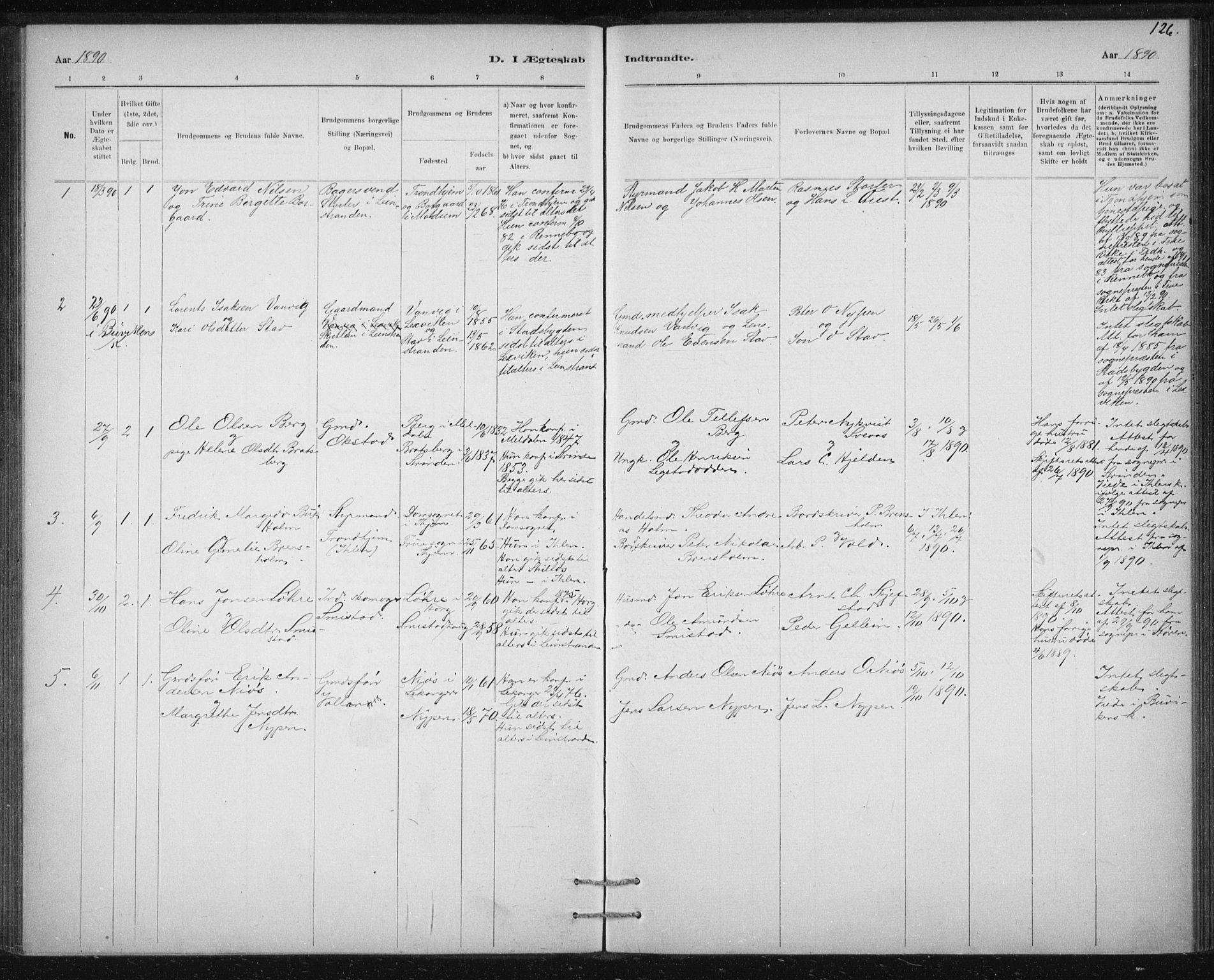 SAT, Ministerialprotokoller, klokkerbøker og fødselsregistre - Sør-Trøndelag, 613/L0392: Ministerialbok nr. 613A01, 1887-1906, s. 126