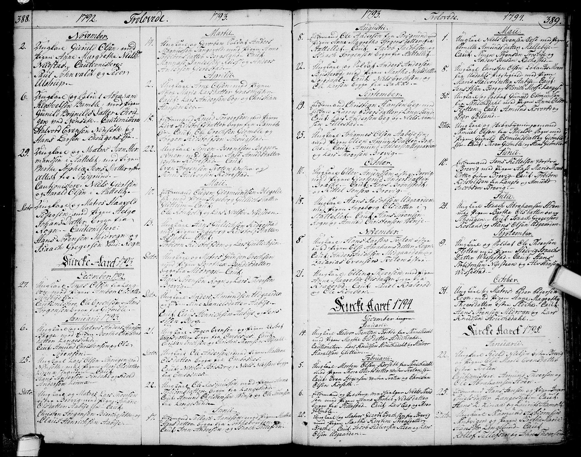 SAKO, Bamble kirkebøker, F/Fa/L0002: Ministerialbok nr. I 2, 1775-1814, s. 388-389