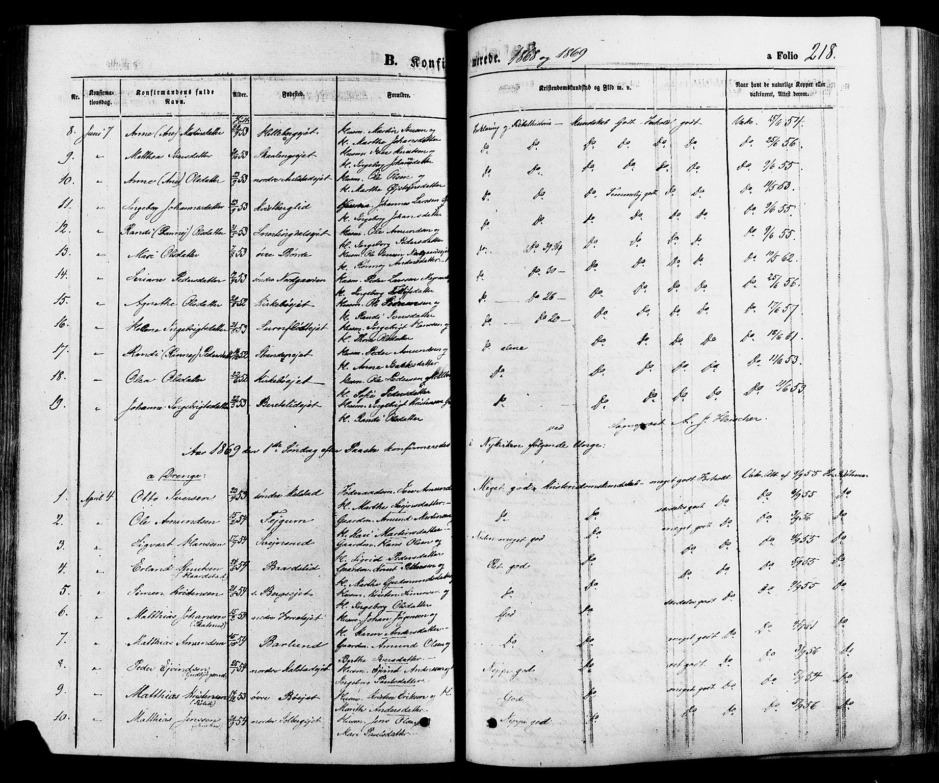 SAH, Gausdal prestekontor, Ministerialbok nr. 10, 1867-1886, s. 218