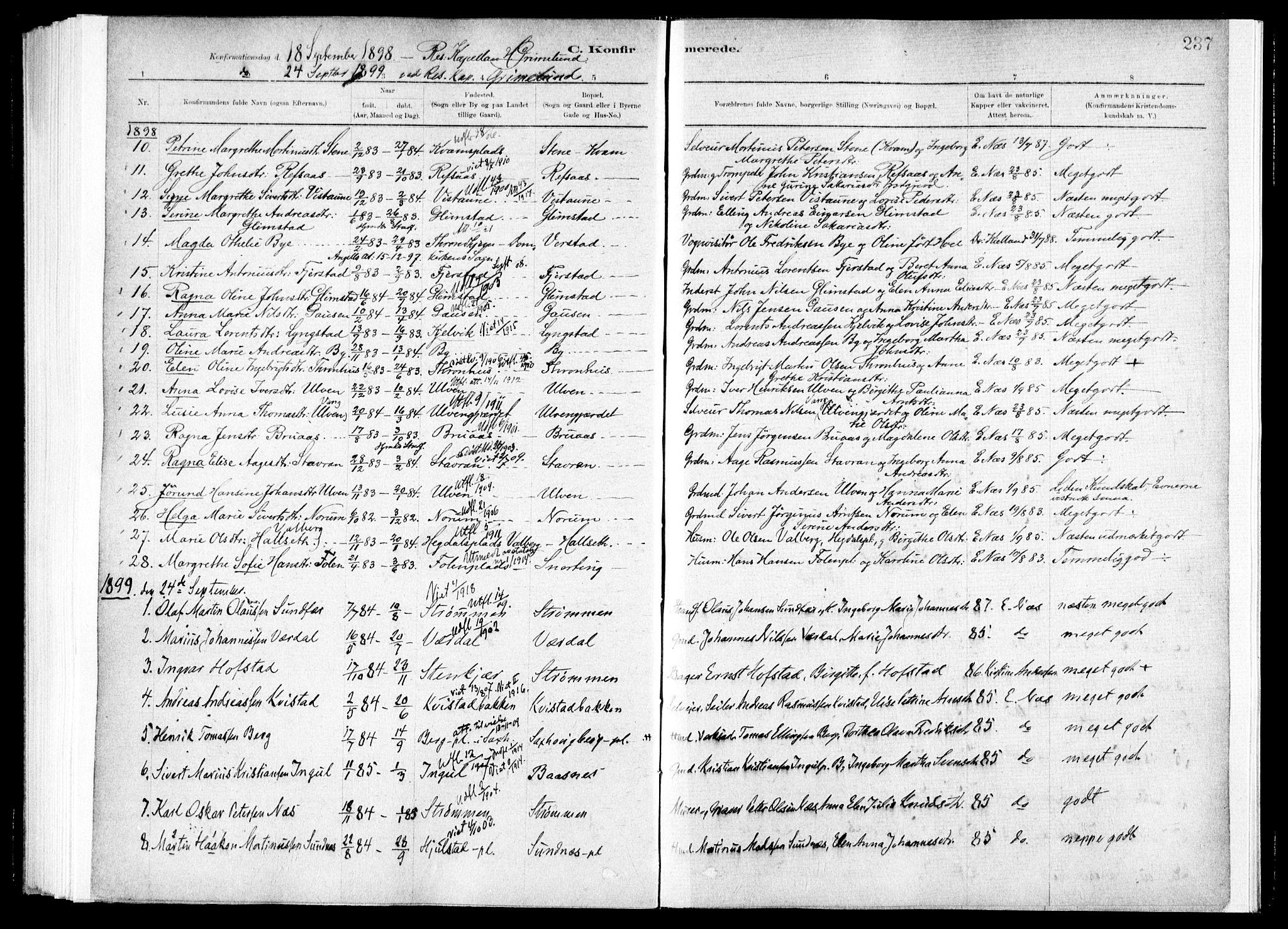 SAT, Ministerialprotokoller, klokkerbøker og fødselsregistre - Nord-Trøndelag, 730/L0285: Ministerialbok nr. 730A10, 1879-1914, s. 237