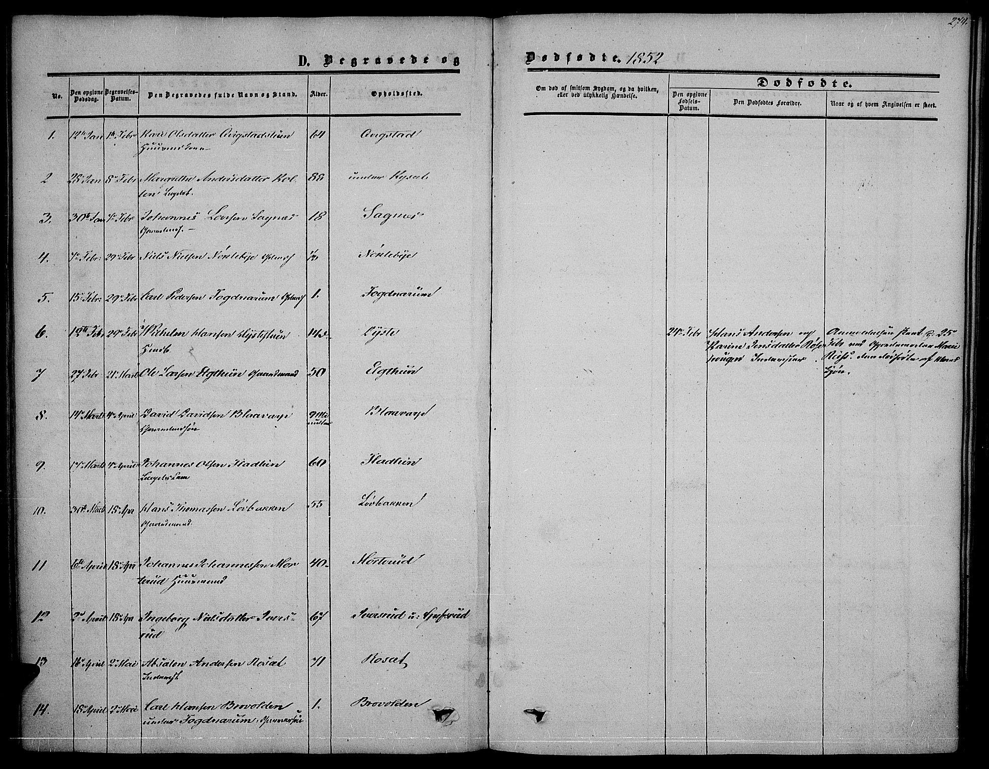 SAH, Vestre Toten prestekontor, Ministerialbok nr. 5, 1850-1855, s. 274