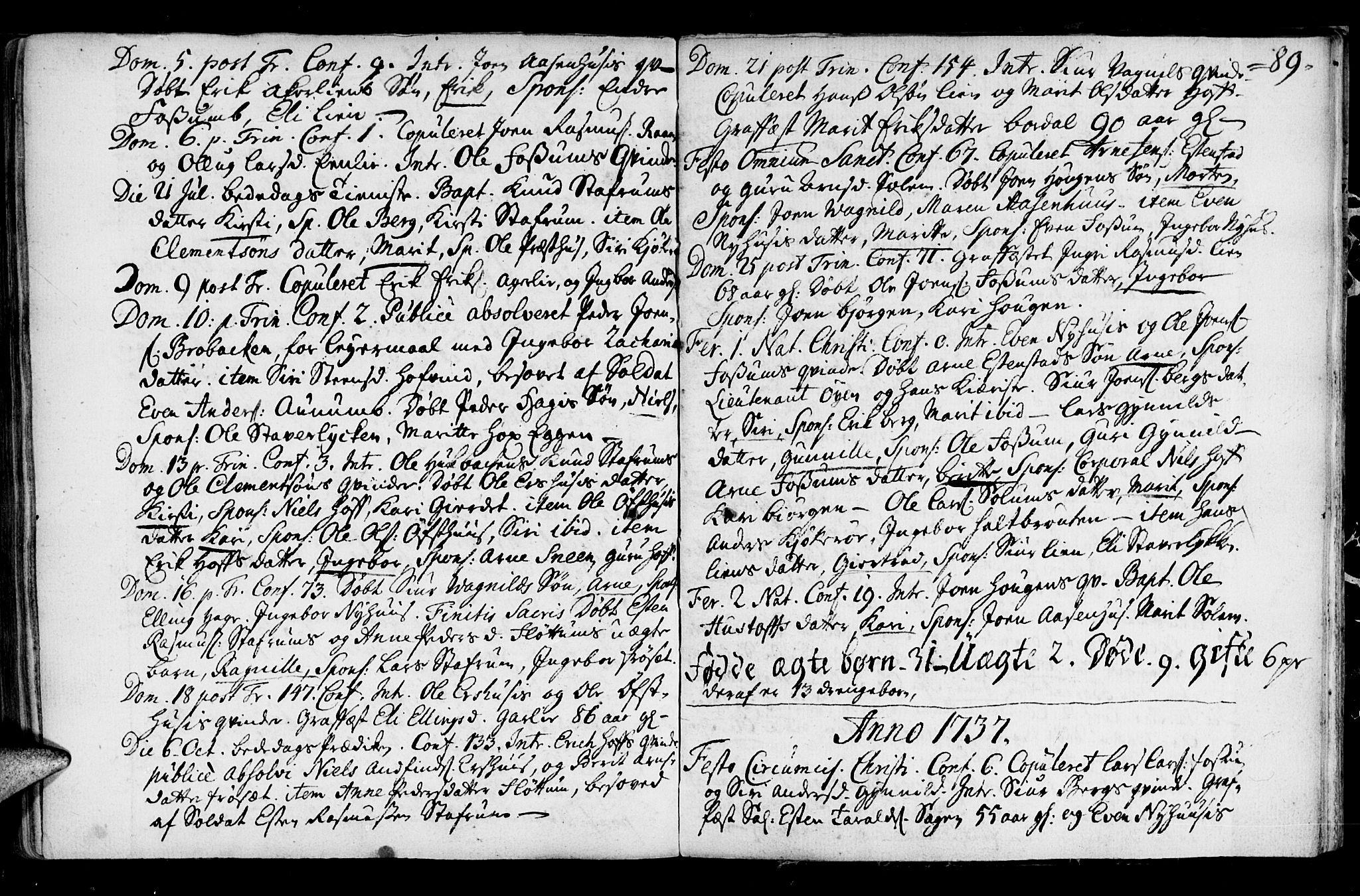 SAT, Ministerialprotokoller, klokkerbøker og fødselsregistre - Sør-Trøndelag, 689/L1036: Ministerialbok nr. 689A01, 1696-1746, s. 89