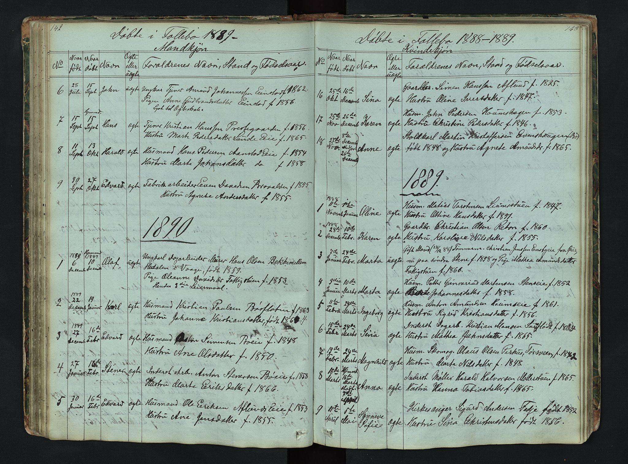 SAH, Gausdal prestekontor, Klokkerbok nr. 6, 1846-1893, s. 142-143