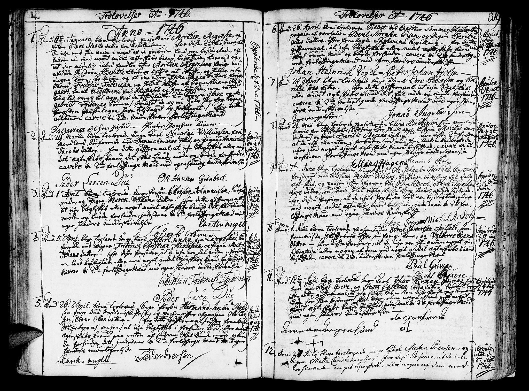 SAT, Ministerialprotokoller, klokkerbøker og fødselsregistre - Sør-Trøndelag, 602/L0103: Ministerialbok nr. 602A01, 1732-1774, s. 319