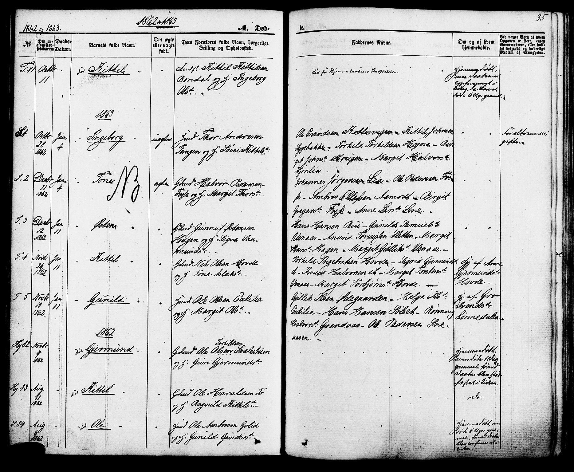 SAKO, Hjartdal kirkebøker, F/Fa/L0009: Ministerialbok nr. I 9, 1860-1879, s. 35