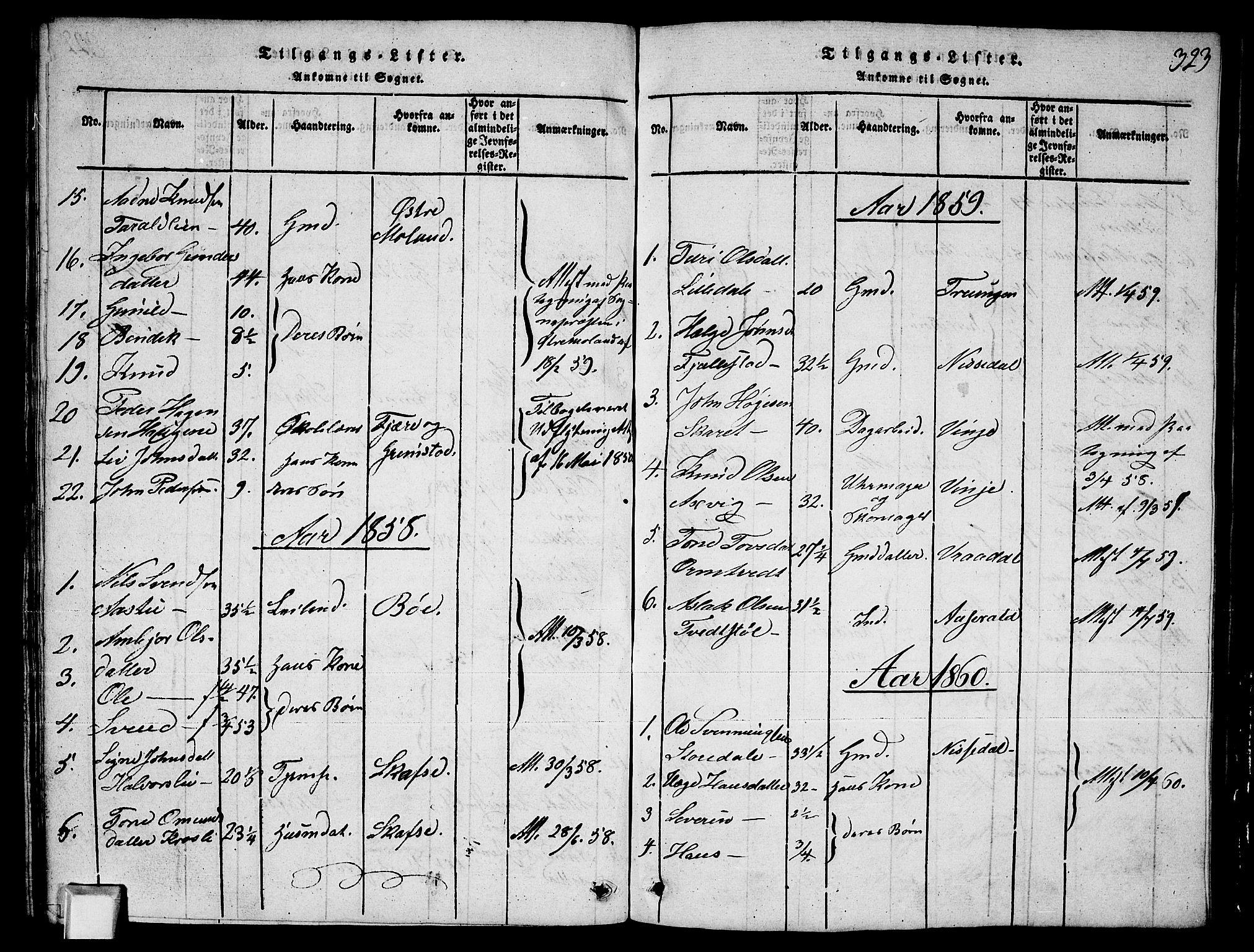 SAKO, Fyresdal kirkebøker, G/Ga/L0003: Klokkerbok nr. I 3, 1815-1863, s. 323