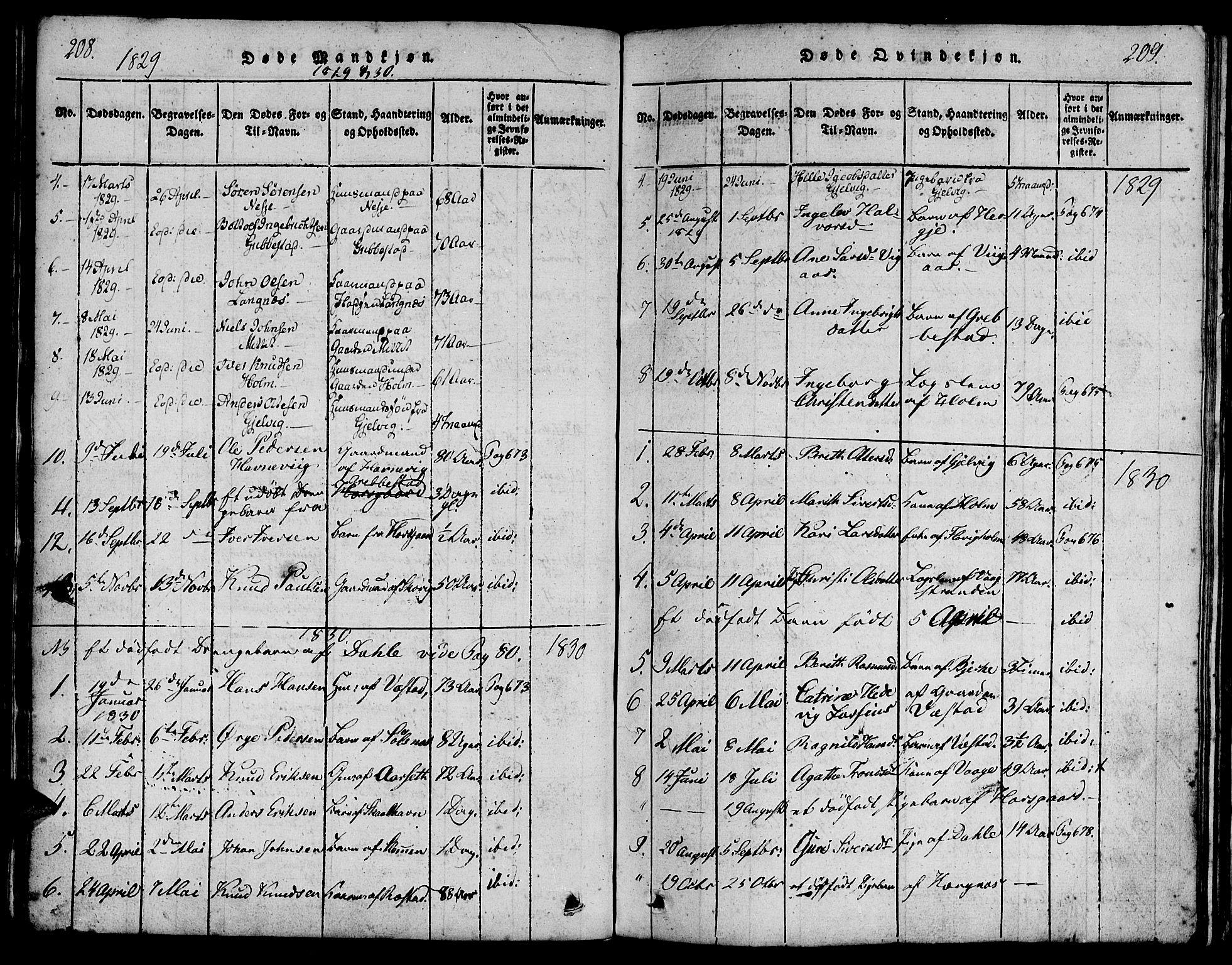 SAT, Ministerialprotokoller, klokkerbøker og fødselsregistre - Møre og Romsdal, 547/L0602: Ministerialbok nr. 547A04, 1818-1845, s. 208-209