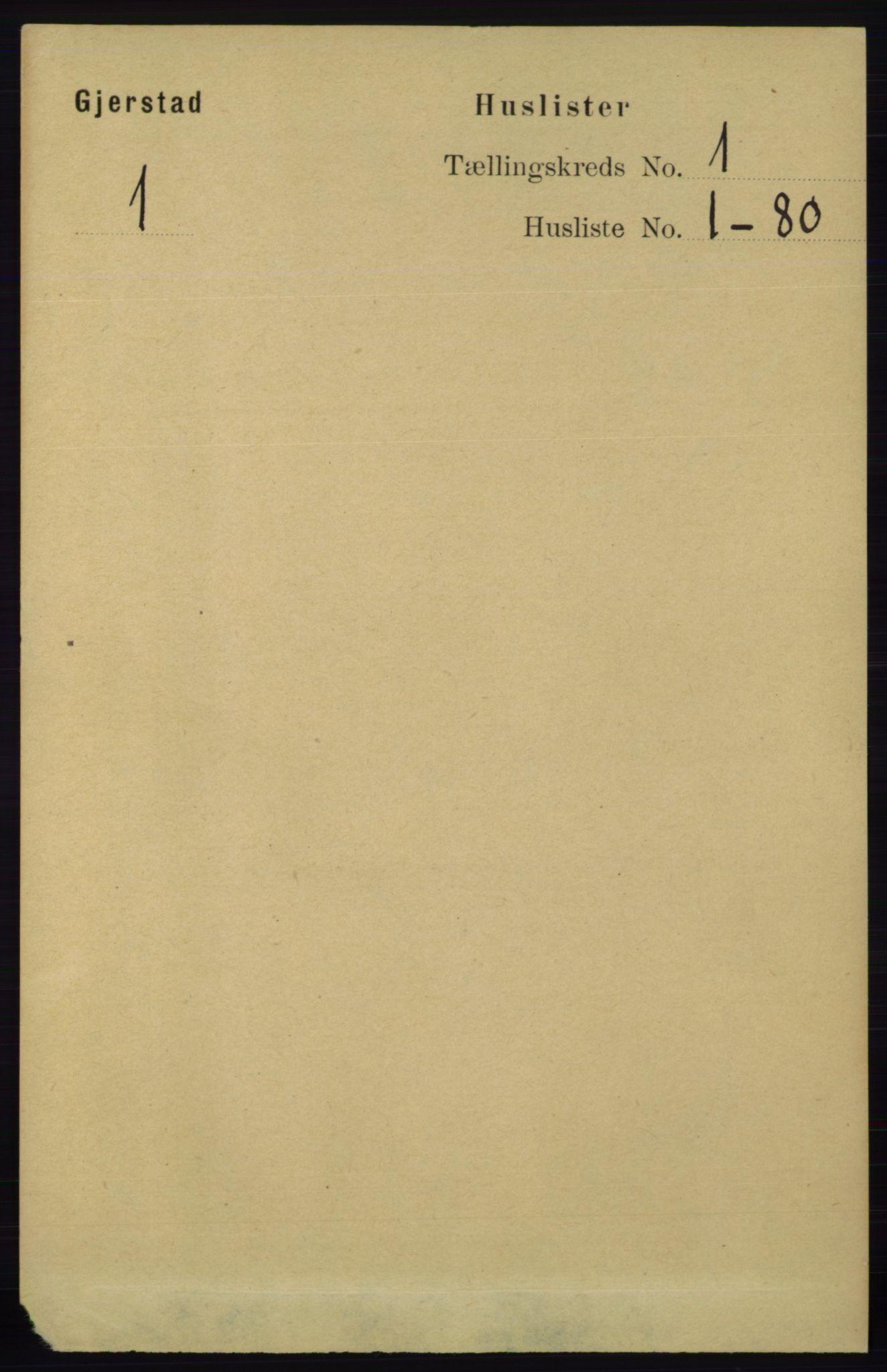 RA, Folketelling 1891 for 0911 Gjerstad herred, 1891, s. 20