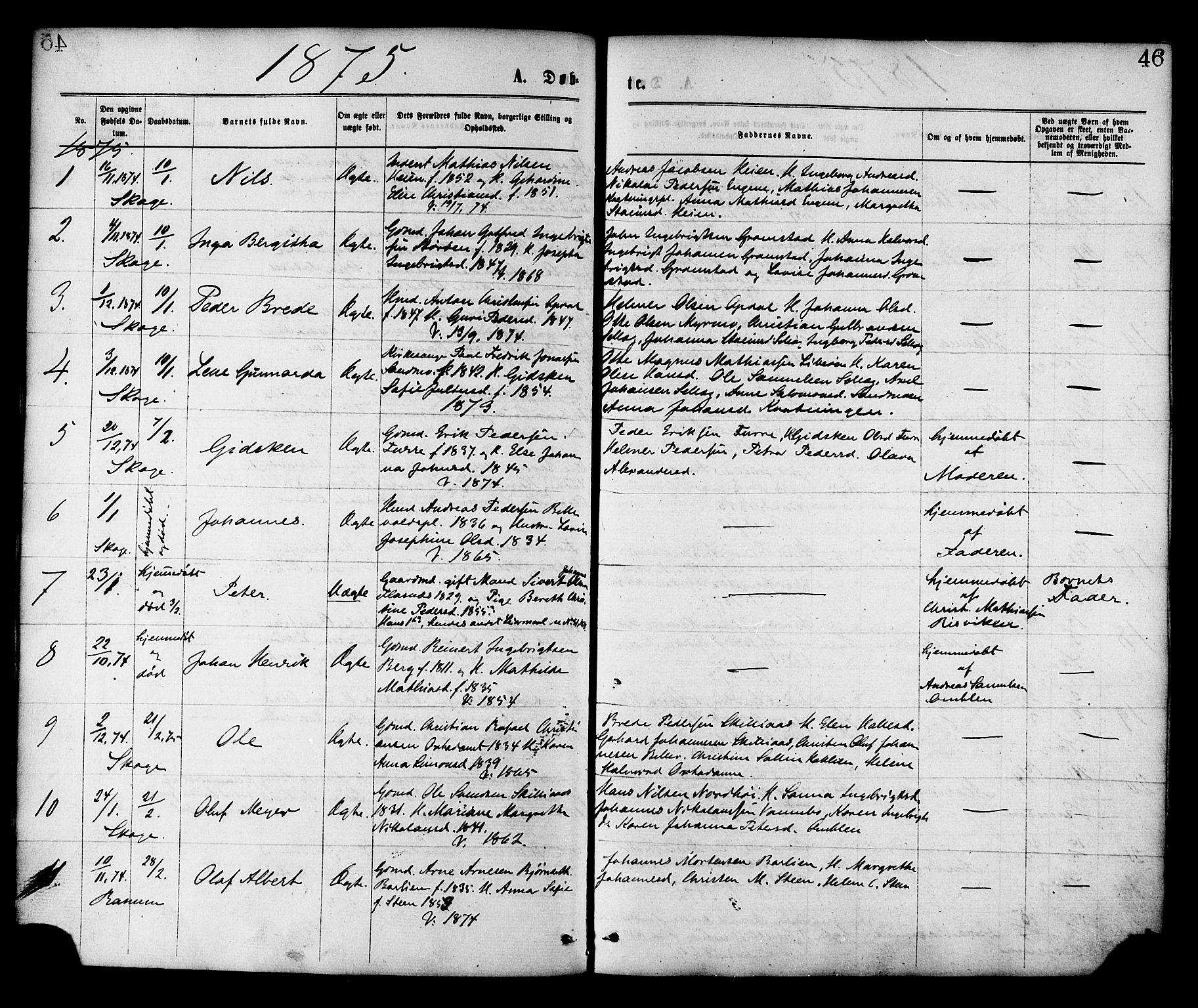 SAT, Ministerialprotokoller, klokkerbøker og fødselsregistre - Nord-Trøndelag, 764/L0554: Ministerialbok nr. 764A09, 1867-1880, s. 46