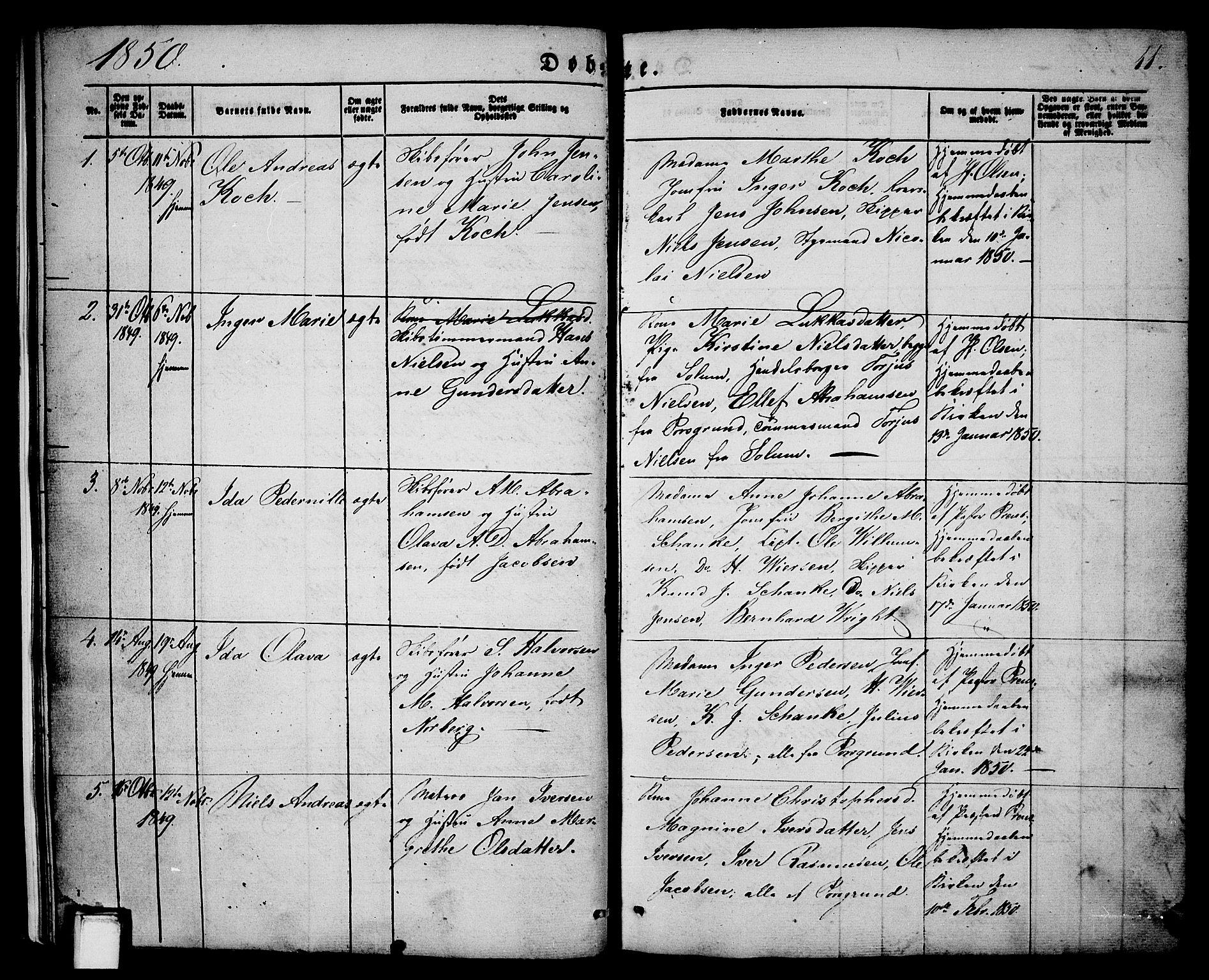 SAKO, Porsgrunn kirkebøker , G/Ga/L0002: Klokkerbok nr. I 2, 1847-1877, s. 11