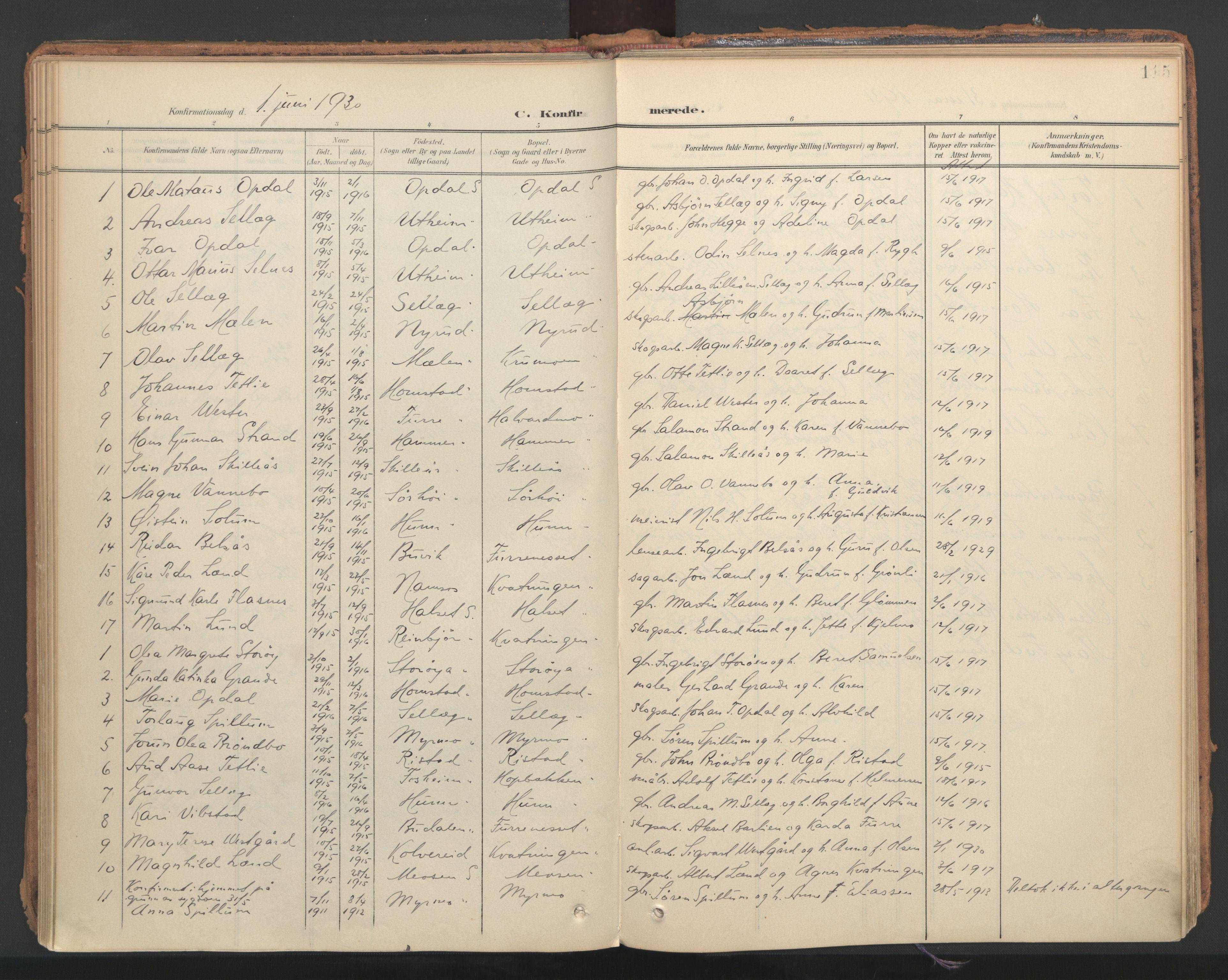 SAT, Ministerialprotokoller, klokkerbøker og fødselsregistre - Nord-Trøndelag, 766/L0564: Ministerialbok nr. 767A02, 1900-1932, s. 115