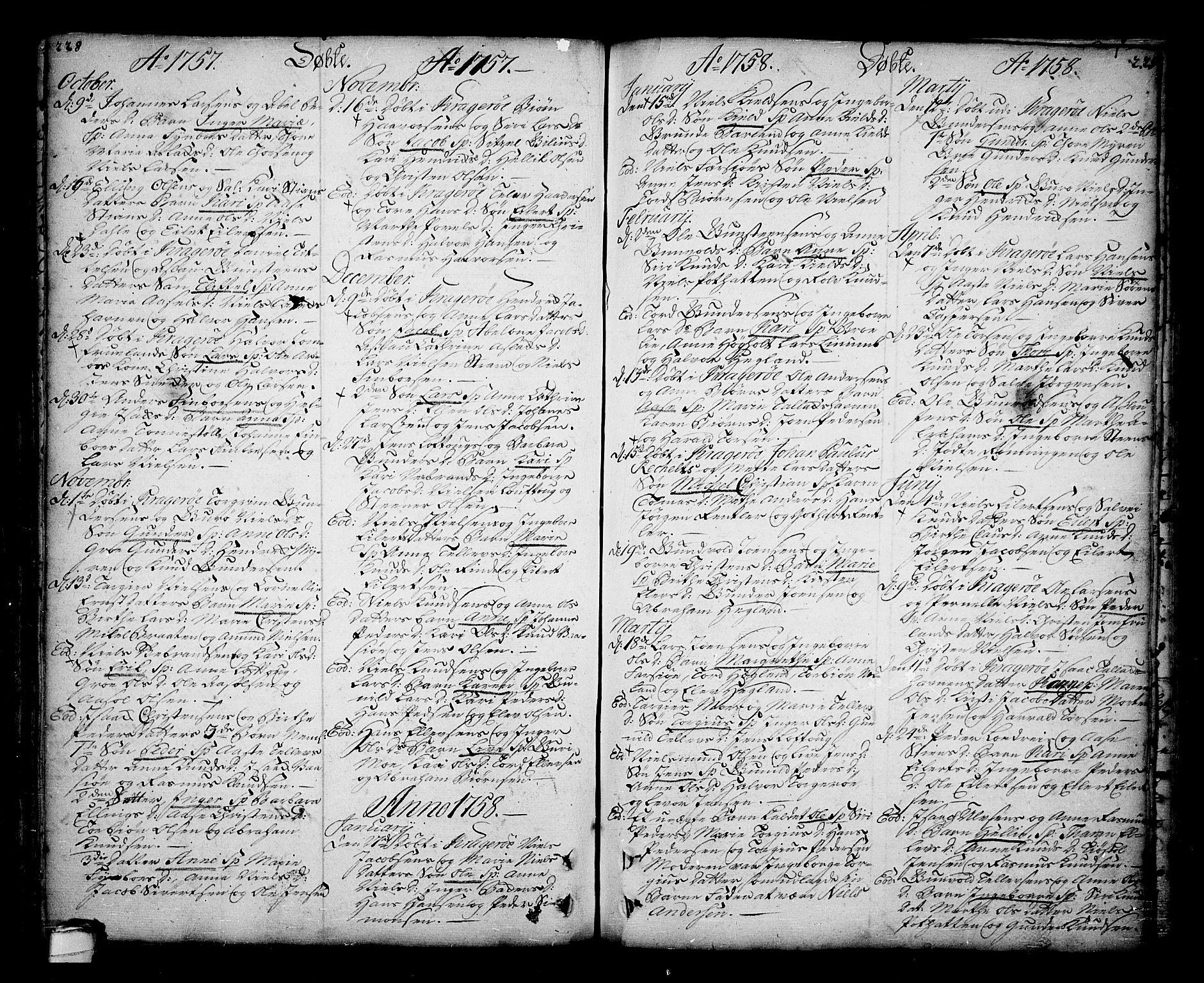 SAKO, Sannidal kirkebøker, F/Fa/L0001: Ministerialbok nr. 1, 1702-1766, s. 228-229