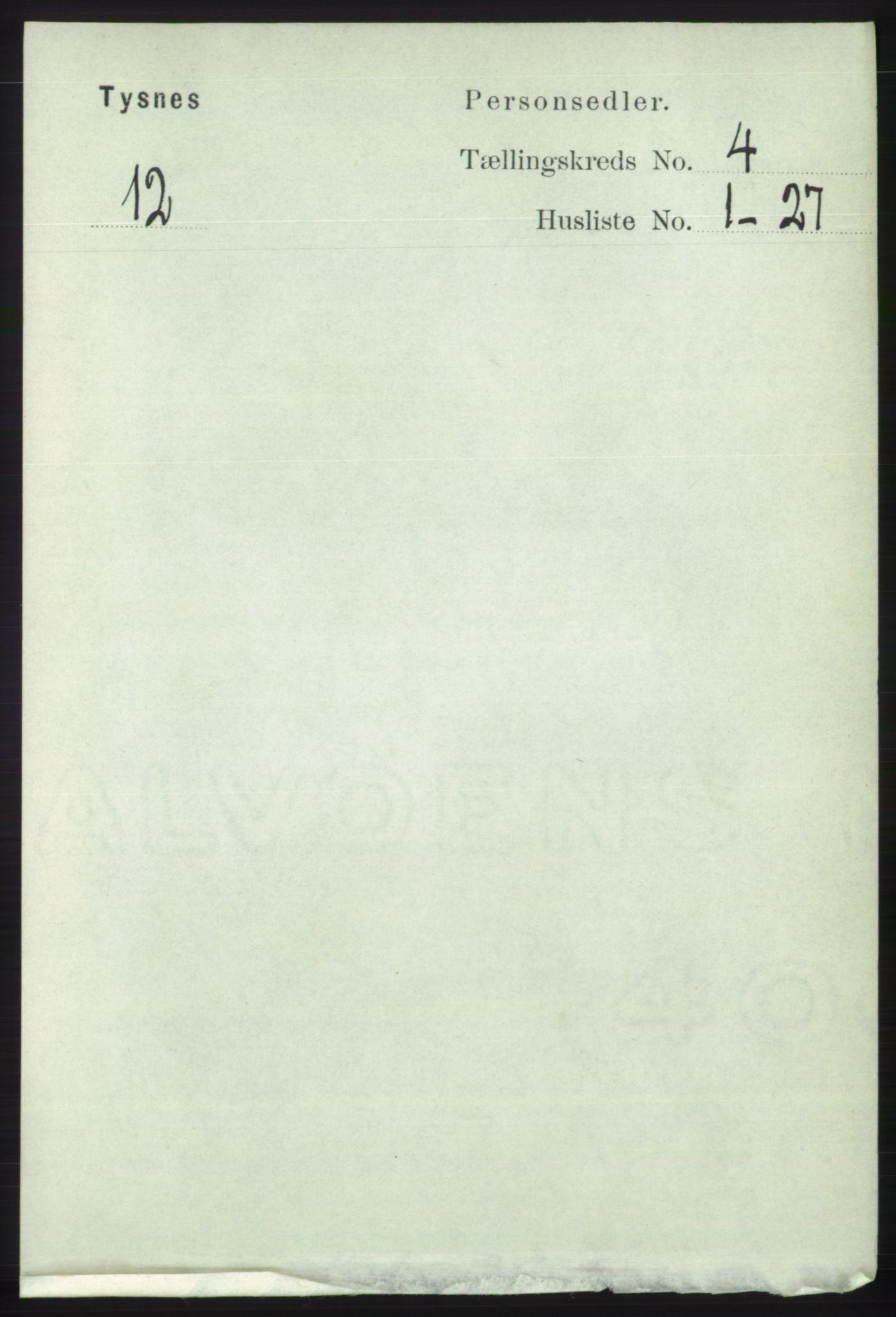 RA, Folketelling 1891 for 1223 Tysnes herred, 1891, s. 1531