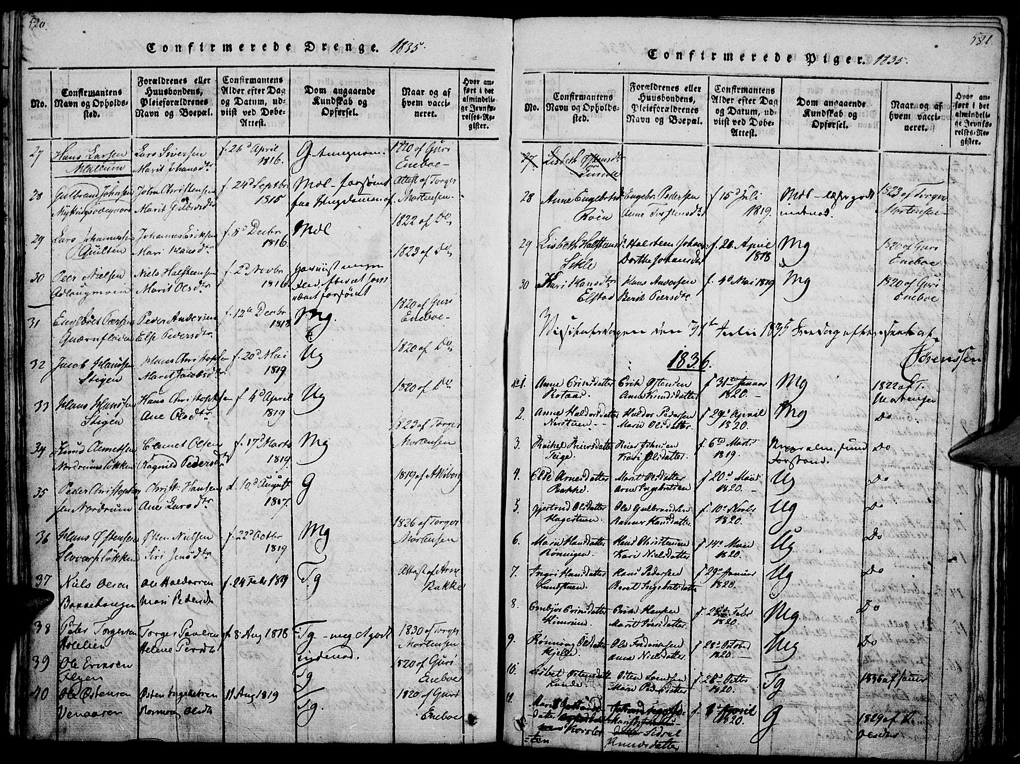 SAH, Ringebu prestekontor, Ministerialbok nr. 4, 1821-1839, s. 520-521