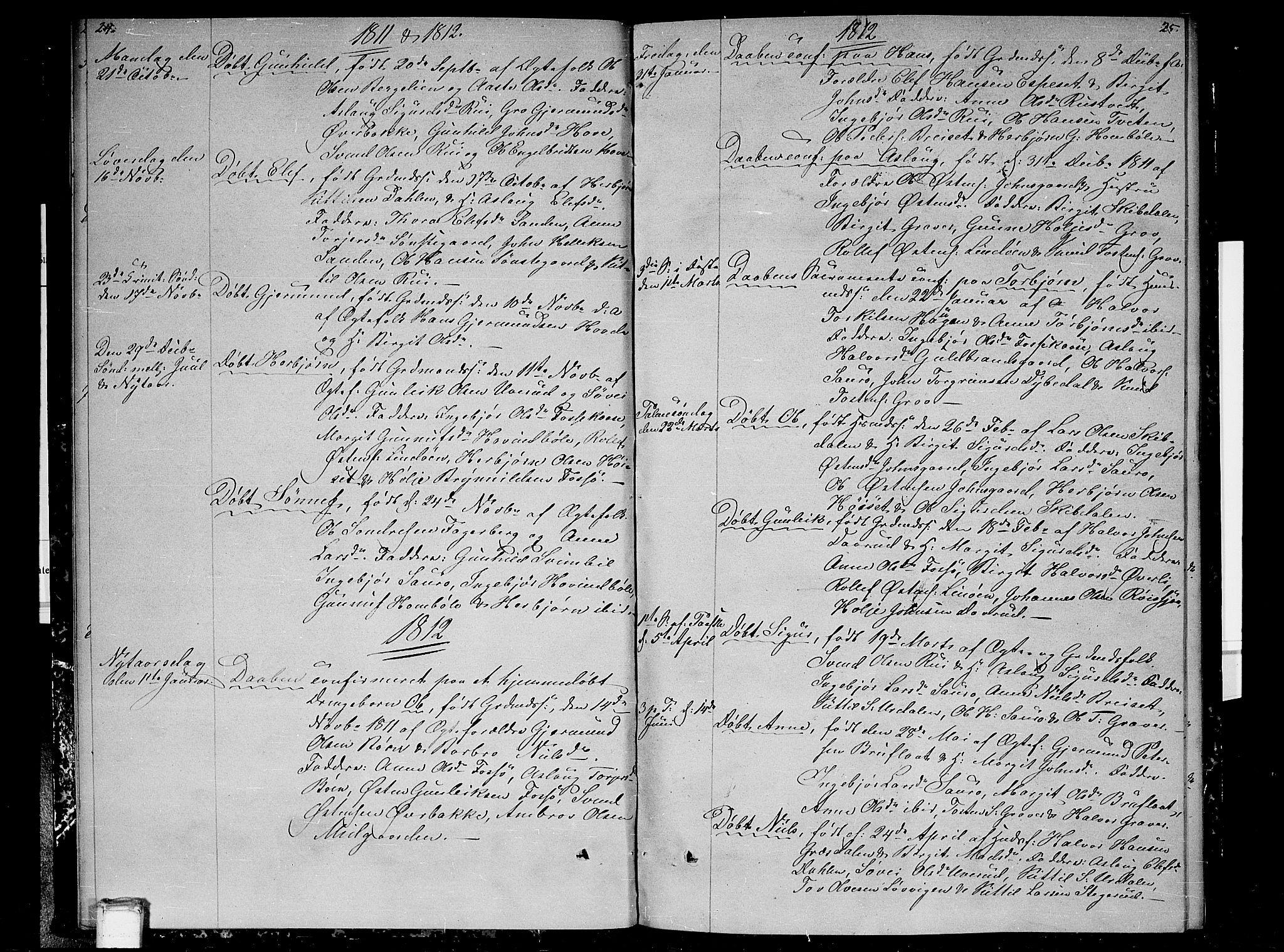 SAKO, Gransherad kirkebøker, F/Fb/L0001: Ministerialbok nr. II 1, 1800-1814, s. 24-25