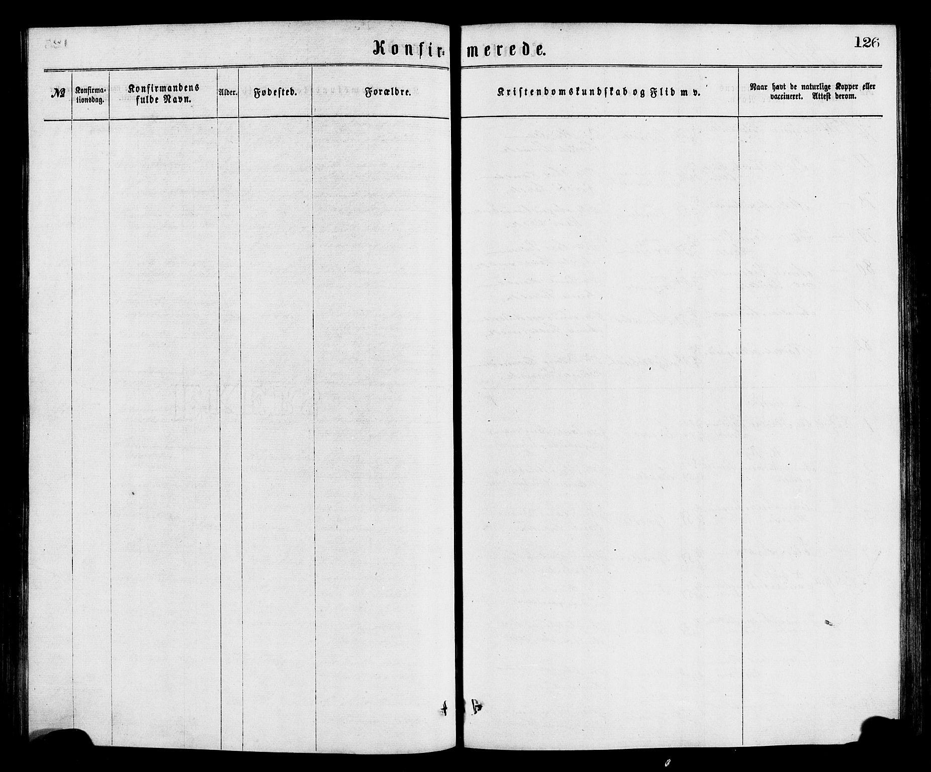 SAB, Bremanger Sokneprestembete, H/Hab: Klokkerbok nr. A 2, 1866-1889, s. 126