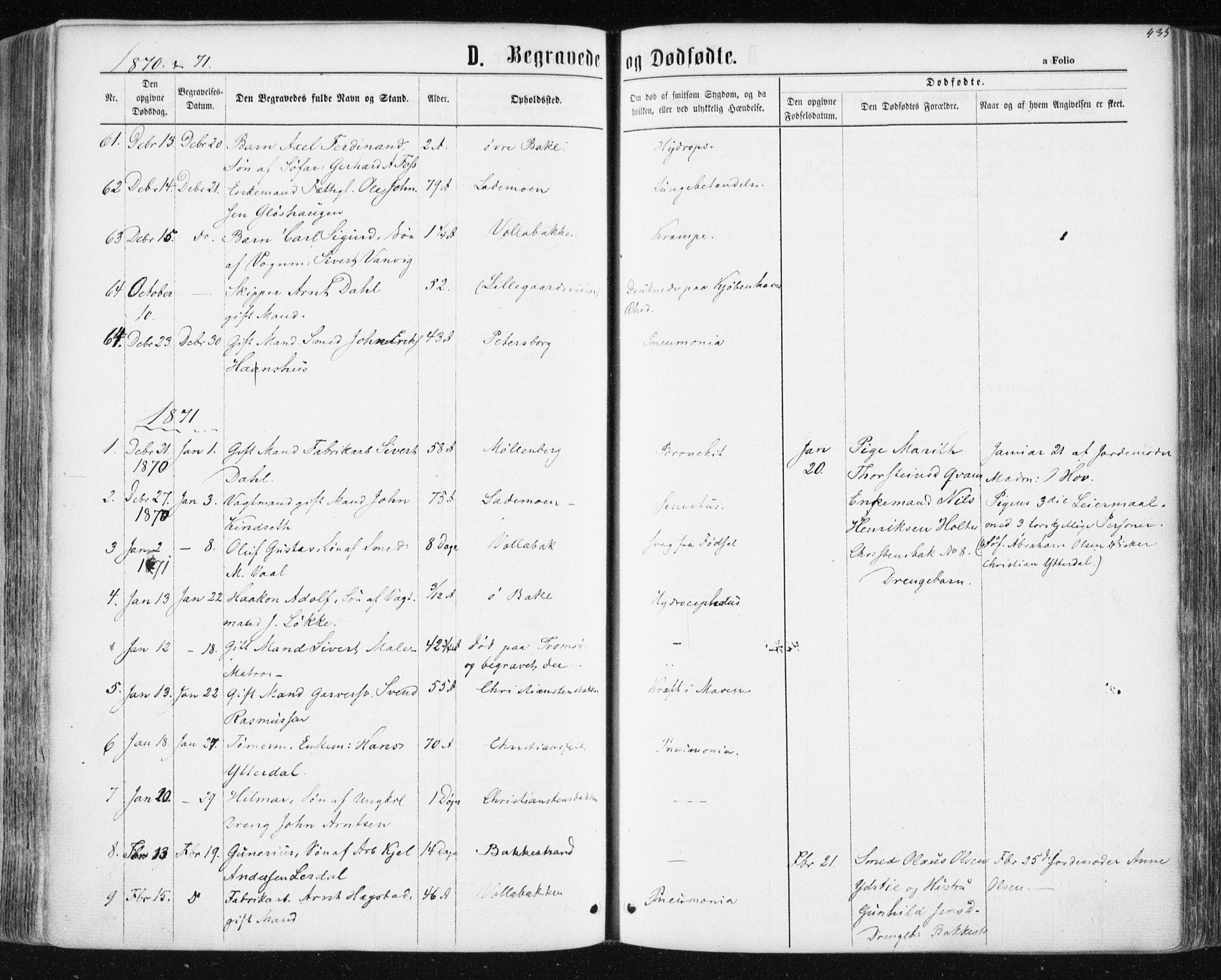 SAT, Ministerialprotokoller, klokkerbøker og fødselsregistre - Sør-Trøndelag, 604/L0186: Ministerialbok nr. 604A07, 1866-1877, s. 435