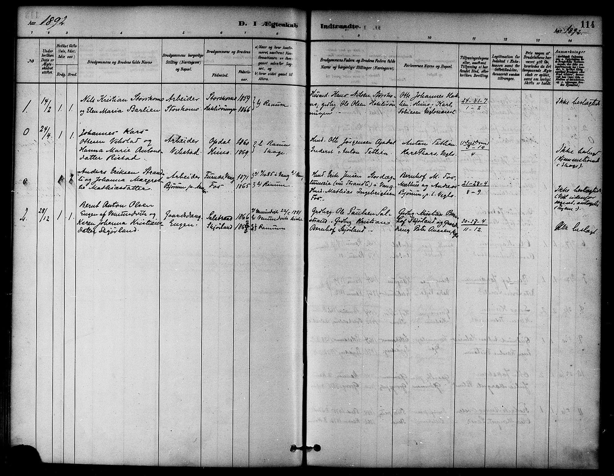 SAT, Ministerialprotokoller, klokkerbøker og fødselsregistre - Nord-Trøndelag, 764/L0555: Ministerialbok nr. 764A10, 1881-1896, s. 114