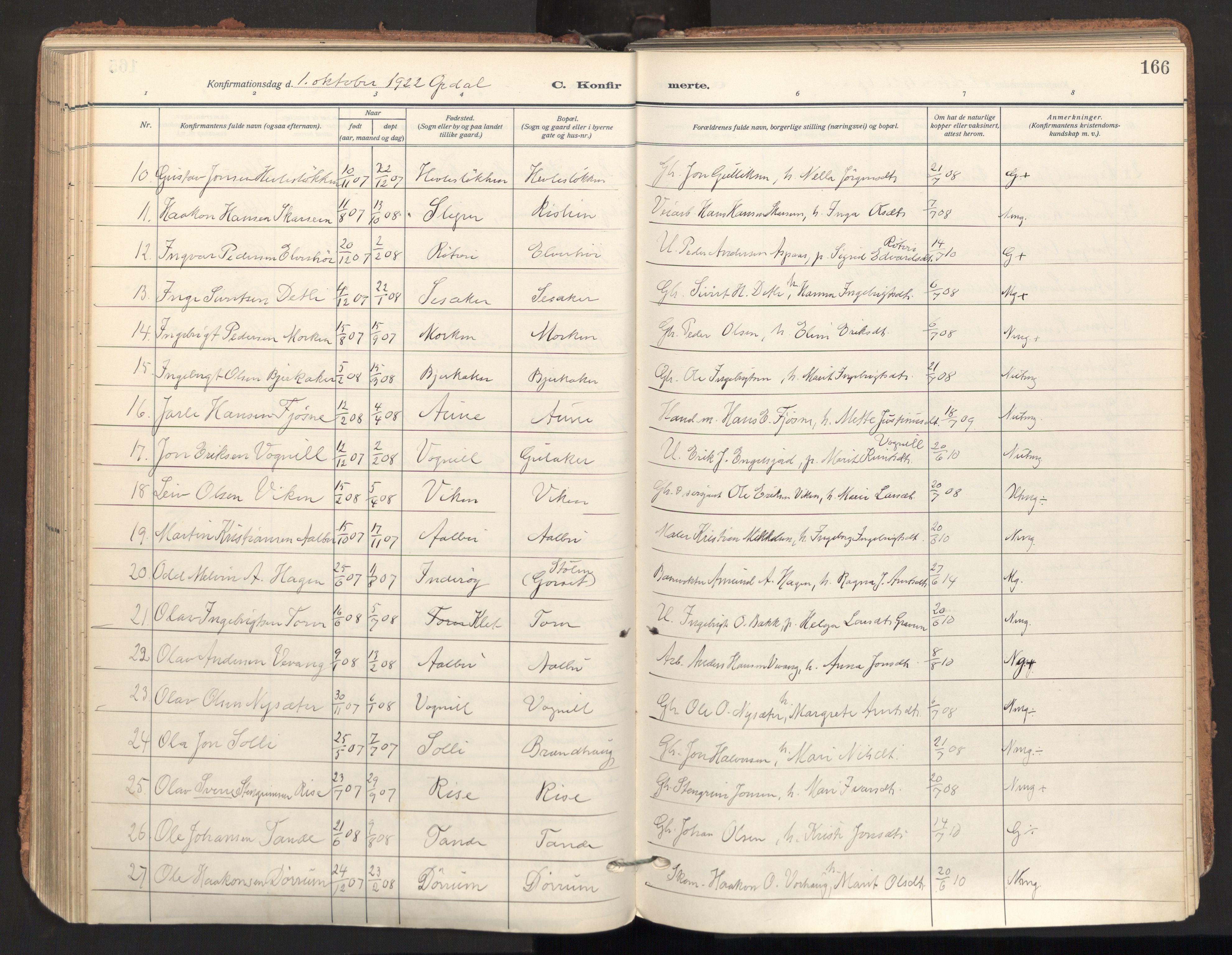 SAT, Ministerialprotokoller, klokkerbøker og fødselsregistre - Sør-Trøndelag, 678/L0909: Ministerialbok nr. 678A17, 1912-1930, s. 166