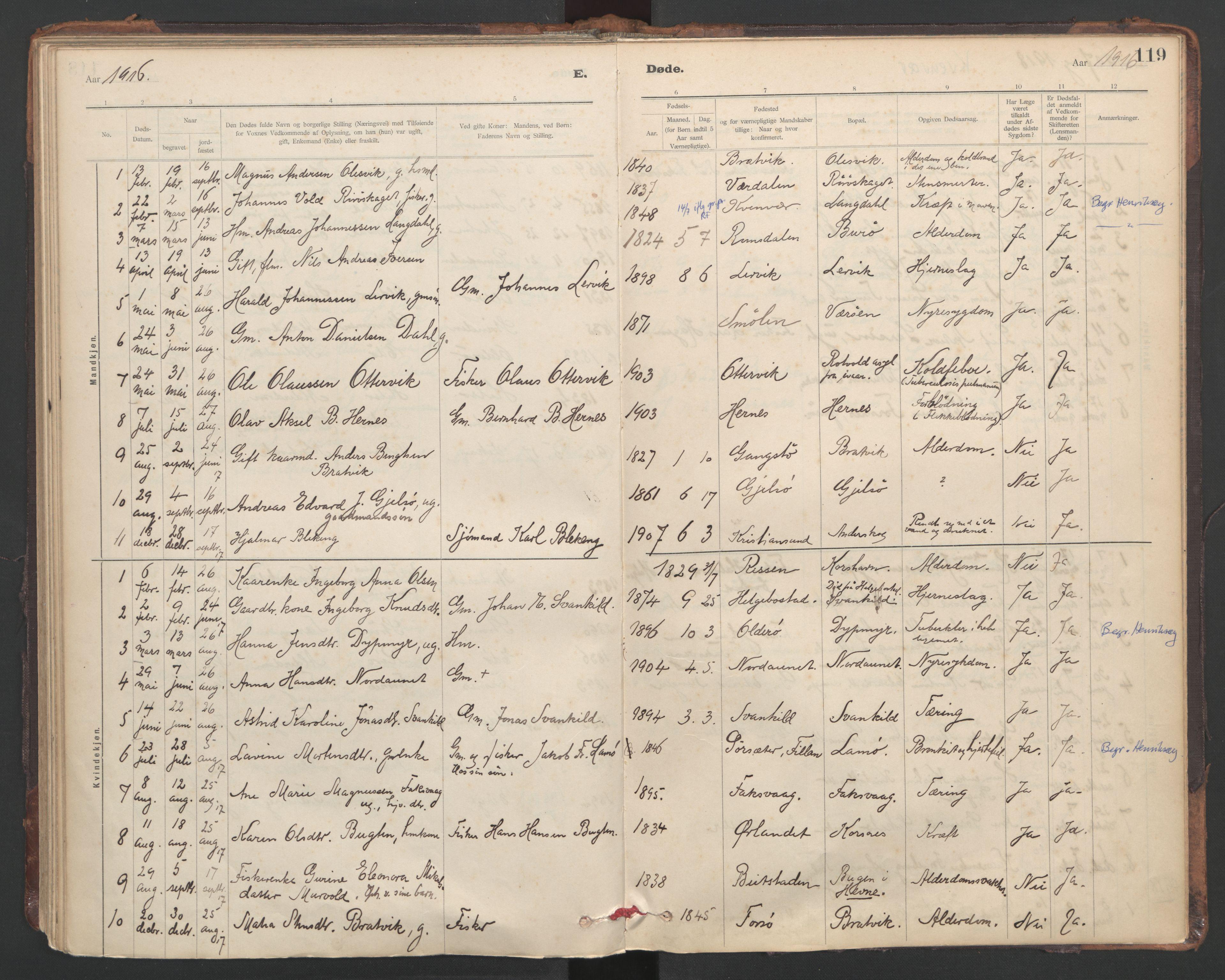 SAT, Ministerialprotokoller, klokkerbøker og fødselsregistre - Sør-Trøndelag, 635/L0552: Ministerialbok nr. 635A02, 1899-1919, s. 119