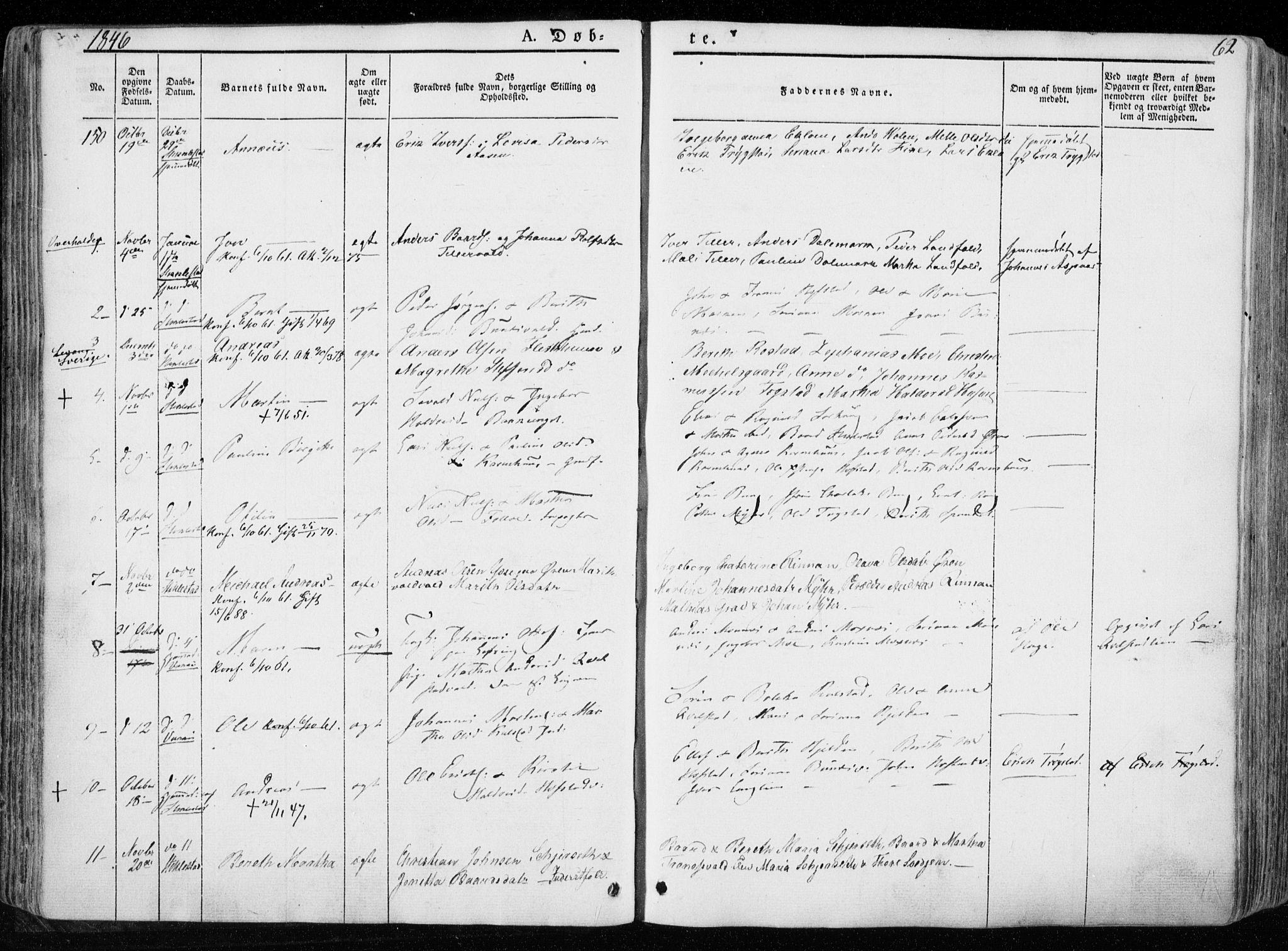 SAT, Ministerialprotokoller, klokkerbøker og fødselsregistre - Nord-Trøndelag, 723/L0239: Ministerialbok nr. 723A08, 1841-1851, s. 62