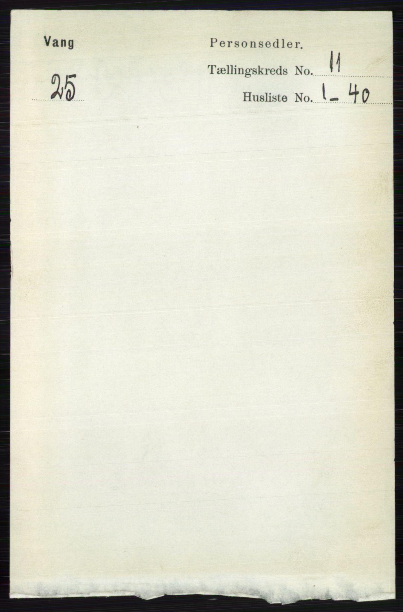 RA, Folketelling 1891 for 0545 Vang herred, 1891, s. 2396