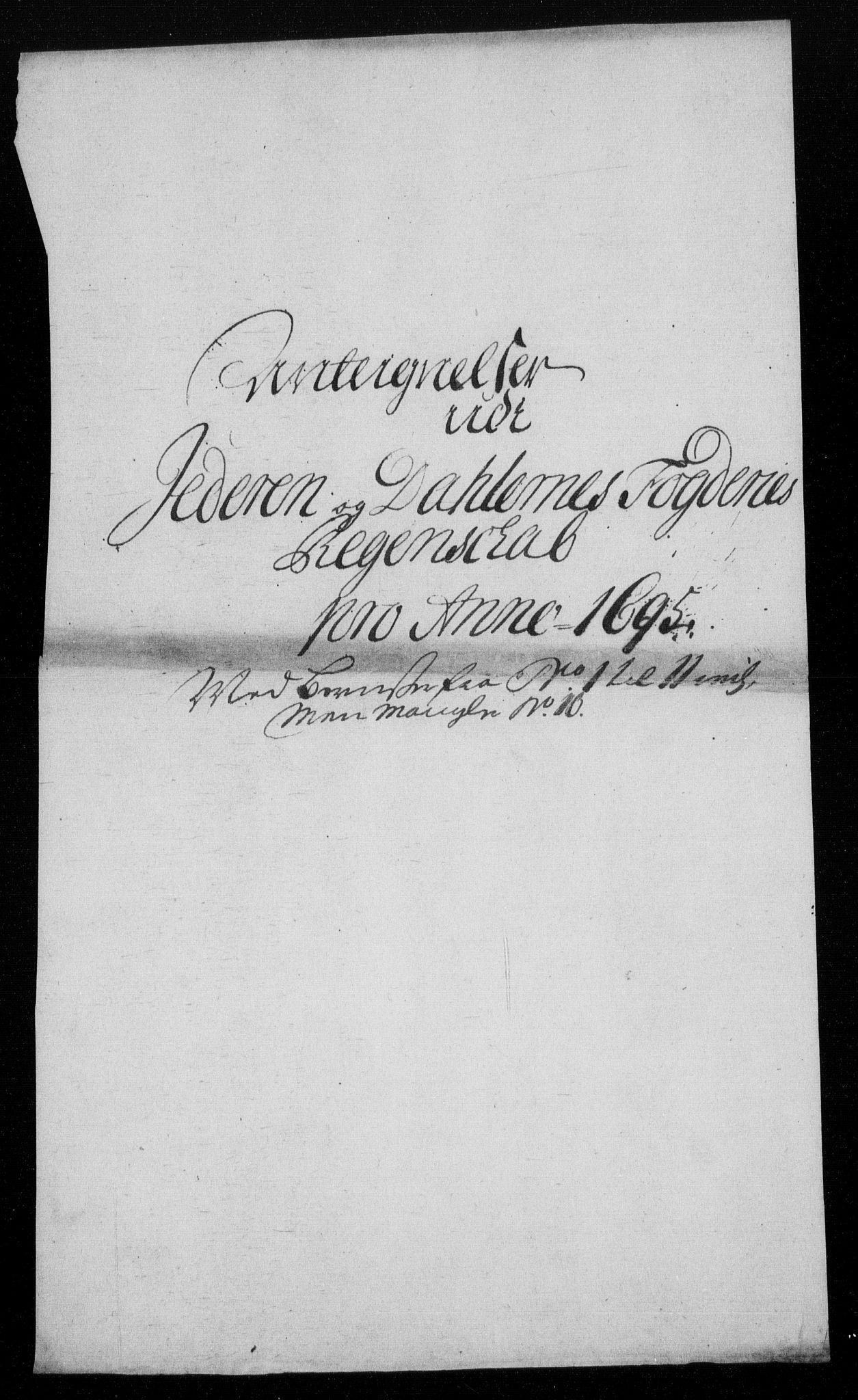 RA, Rentekammeret inntil 1814, Reviderte regnskaper, Fogderegnskap, R46/L2728: Fogderegnskap Jæren og Dalane, 1694-1696, s. 365