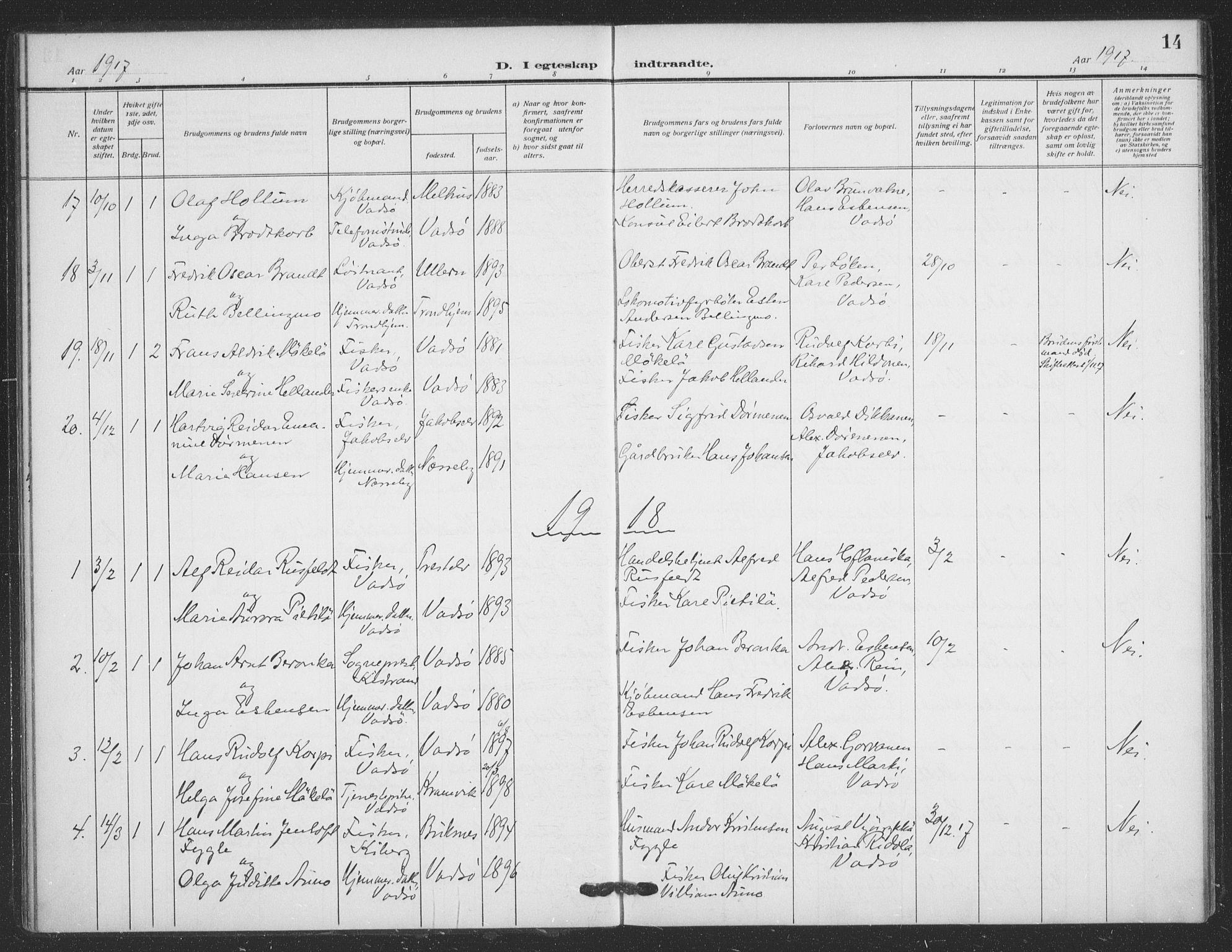 SATØ, Vadsø sokneprestkontor, H/Ha/L0008kirke: Ministerialbok nr. 8, 1912-1930, s. 14