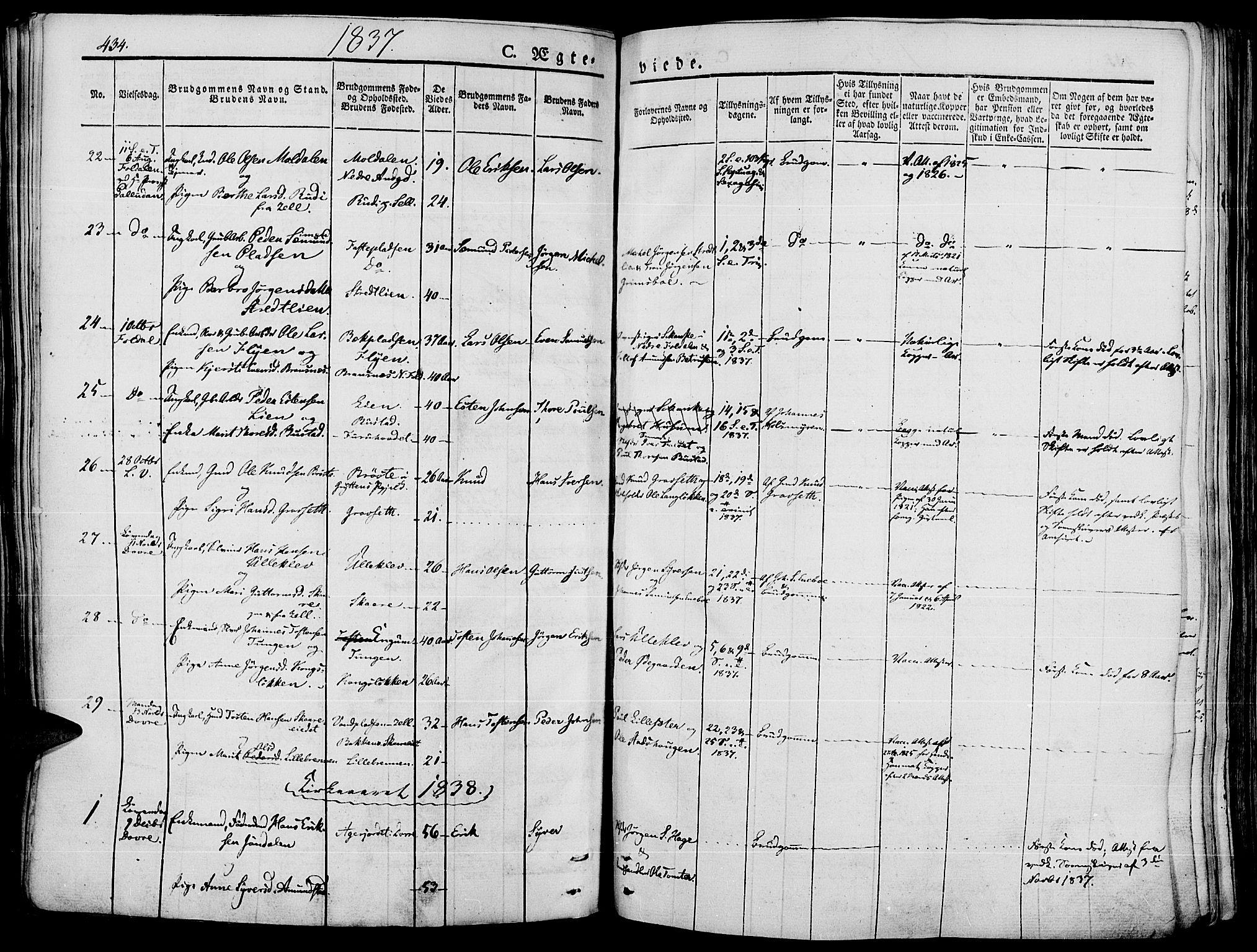 SAH, Lesja prestekontor, Ministerialbok nr. 5, 1830-1842, s. 434