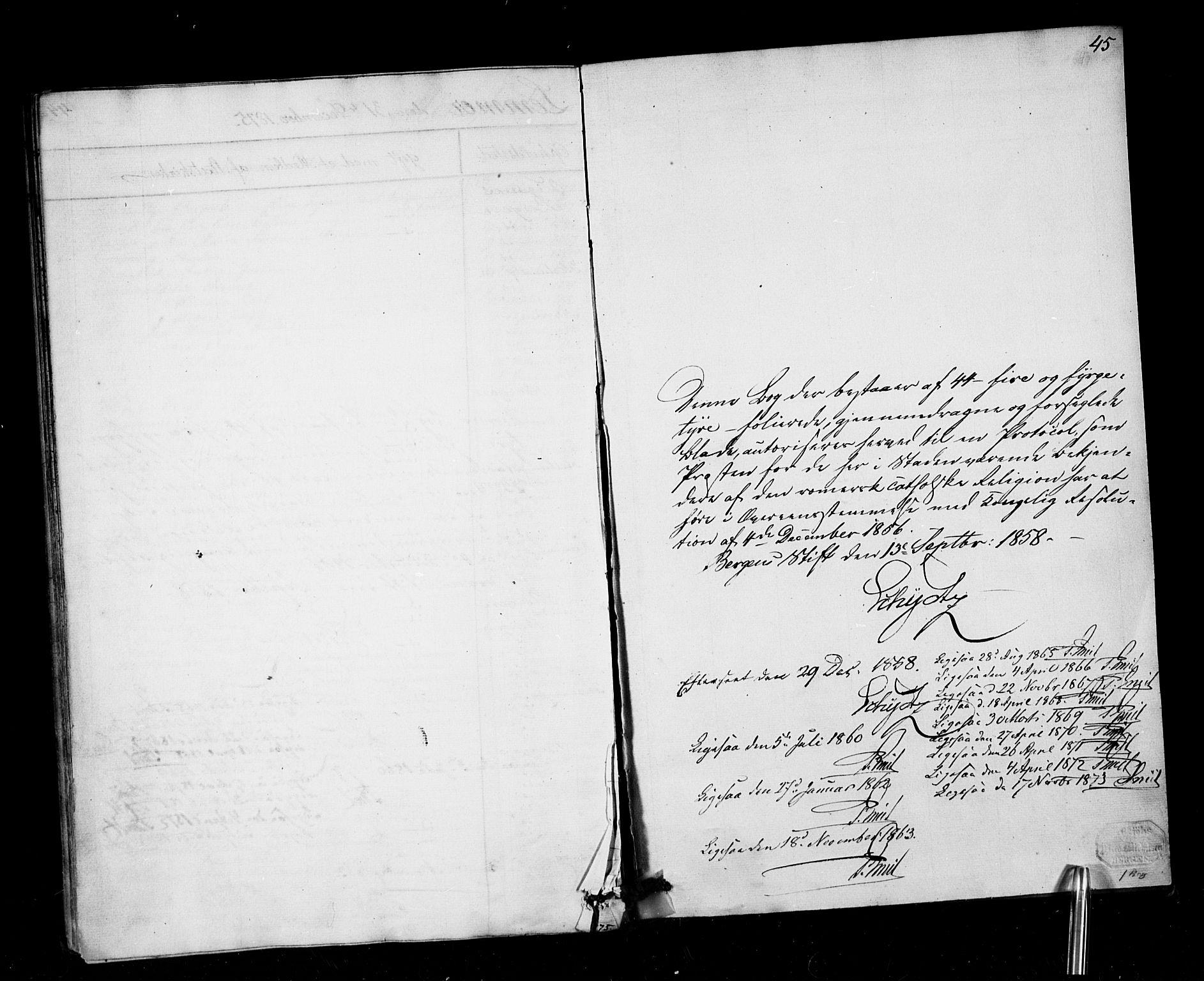 SAB, Arkivreferanse mangler*, Dissenterprotokoll nr. -, 1858-1878, s. 45