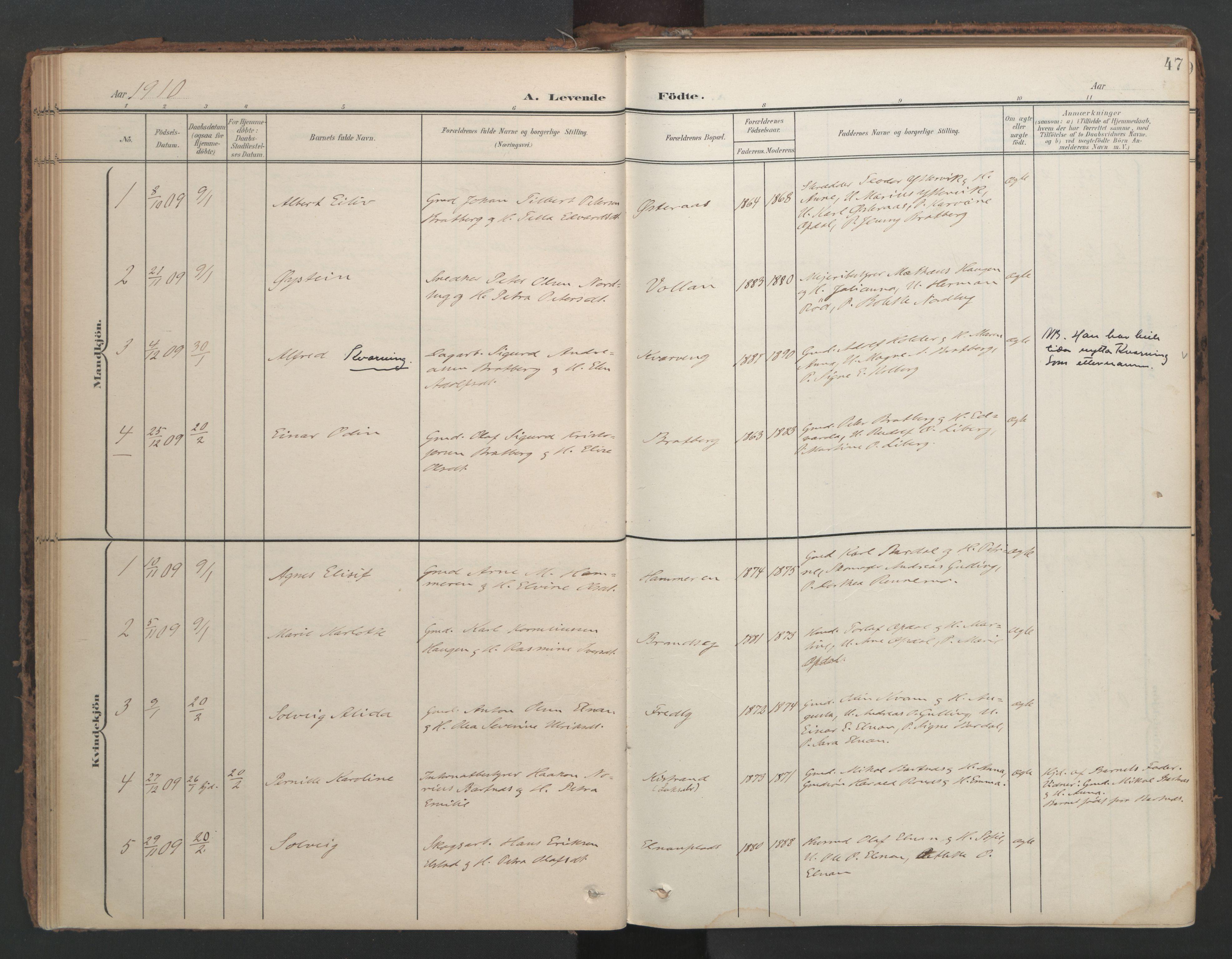 SAT, Ministerialprotokoller, klokkerbøker og fødselsregistre - Nord-Trøndelag, 741/L0397: Ministerialbok nr. 741A11, 1901-1911, s. 47