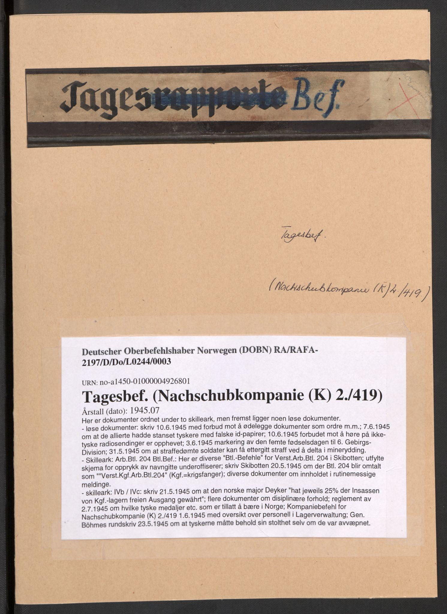 RA, Deutscher Oberbefehlshaber Norwegen (DOBN), D/Do/L0244: DBT Abt. V, 1945
