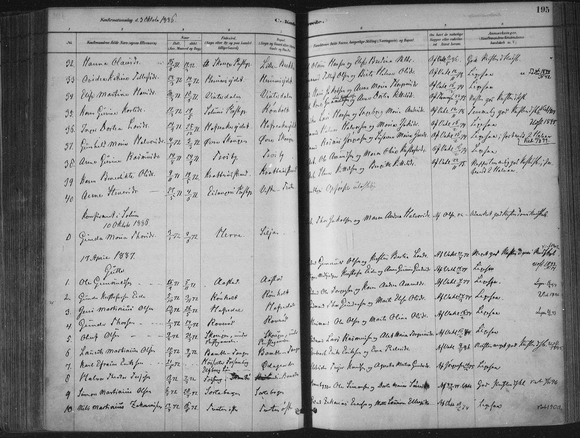 SAKO, Bamble kirkebøker, F/Fa/L0007: Ministerialbok nr. I 7, 1878-1888, s. 195