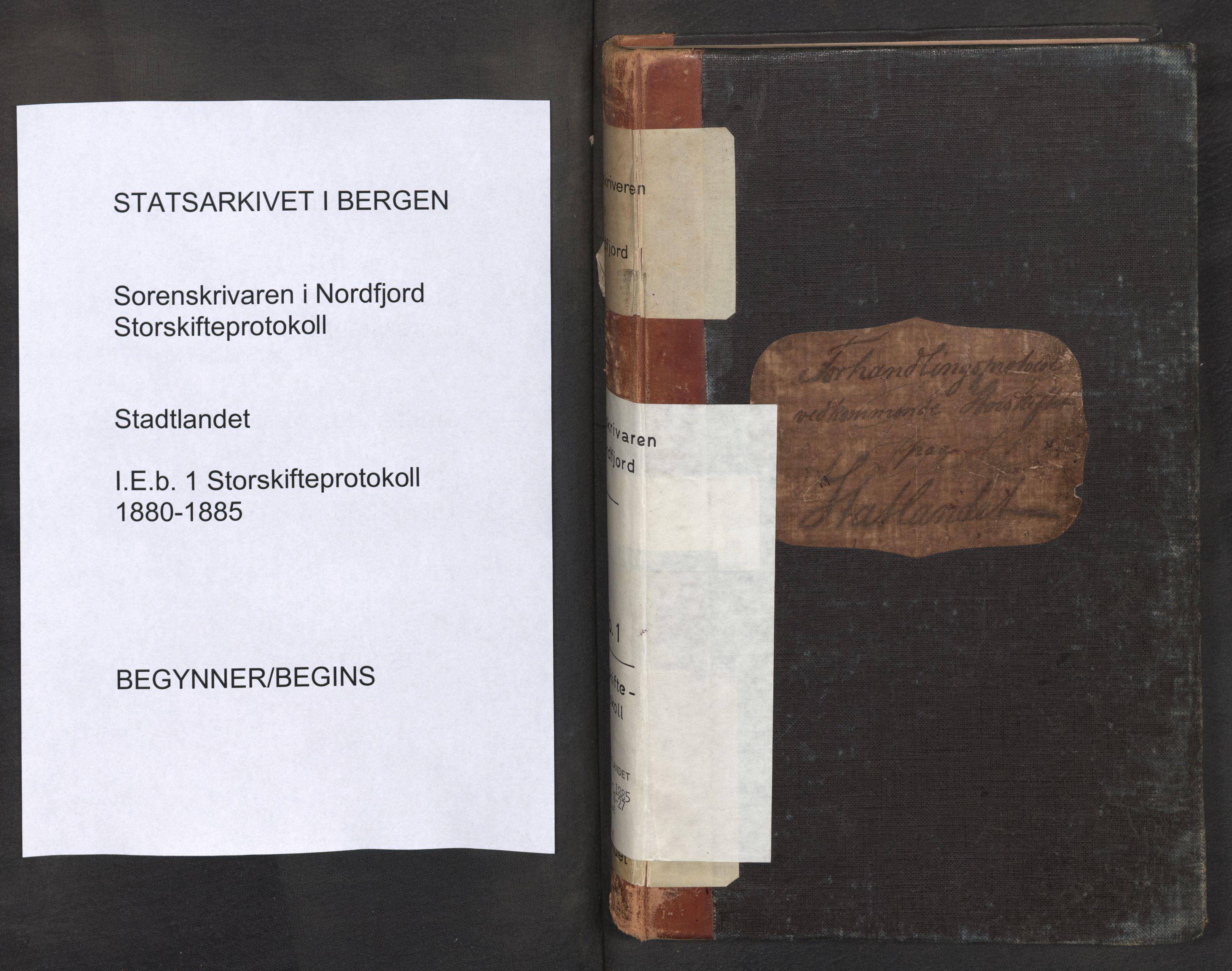 SAB, Nordfjord sorenskriveri, 01/01eb/L0001: Ekstrarettsprotokollar. Storskifte, 1880-1885