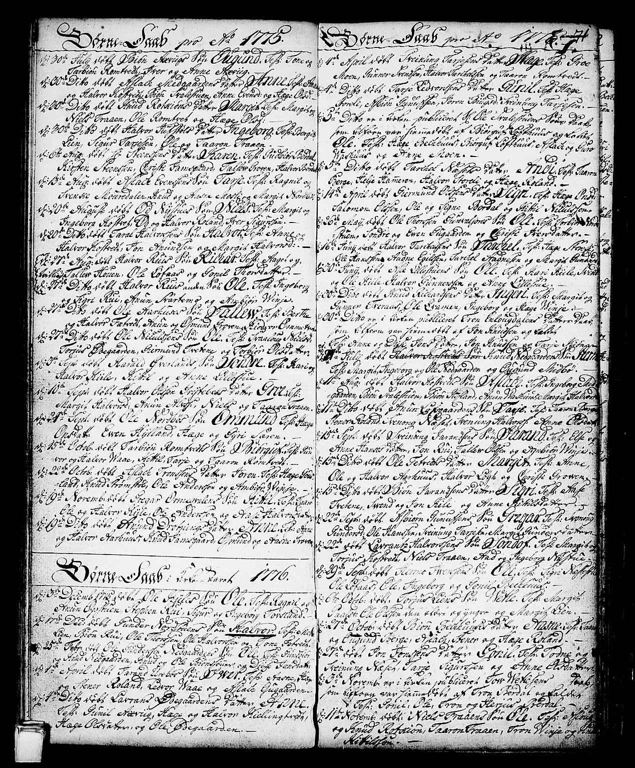 SAKO, Vinje kirkebøker, F/Fa/L0002: Ministerialbok nr. I 2, 1767-1814, s. 71