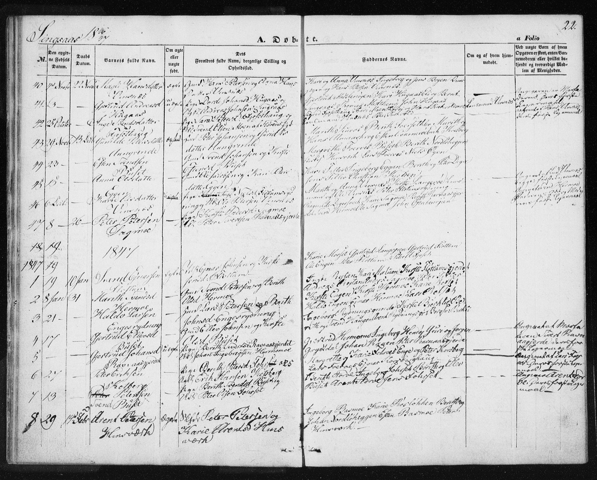 SAT, Ministerialprotokoller, klokkerbøker og fødselsregistre - Sør-Trøndelag, 685/L0964: Ministerialbok nr. 685A06 /2, 1846-1859, s. 22