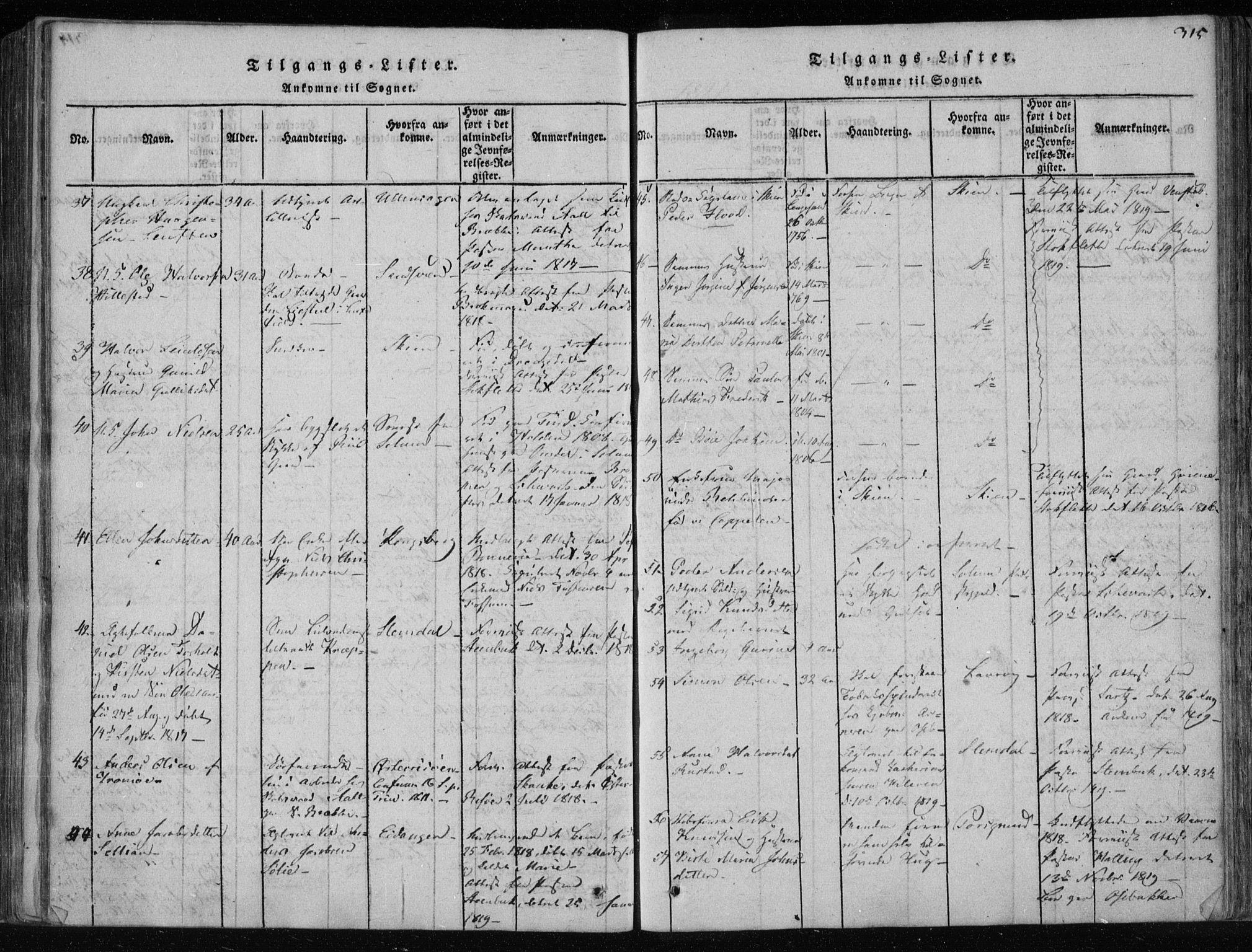 SAKO, Gjerpen kirkebøker, F/Fa/L0004: Ministerialbok nr. 4, 1814-1823, s. 315