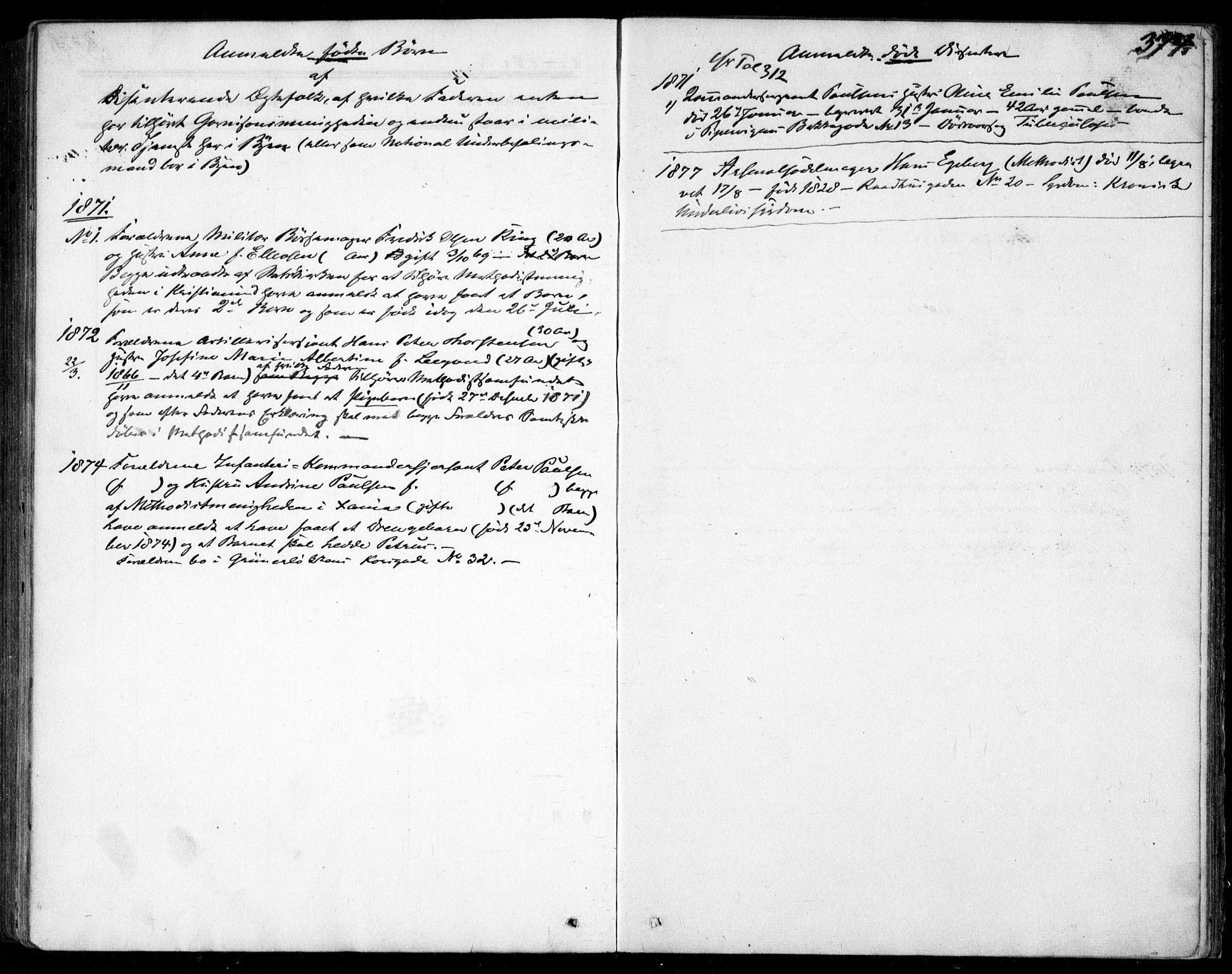 SAO, Garnisonsmenigheten Kirkebøker, F/Fa/L0011: Ministerialbok nr. 11, 1870-1880, s. 372