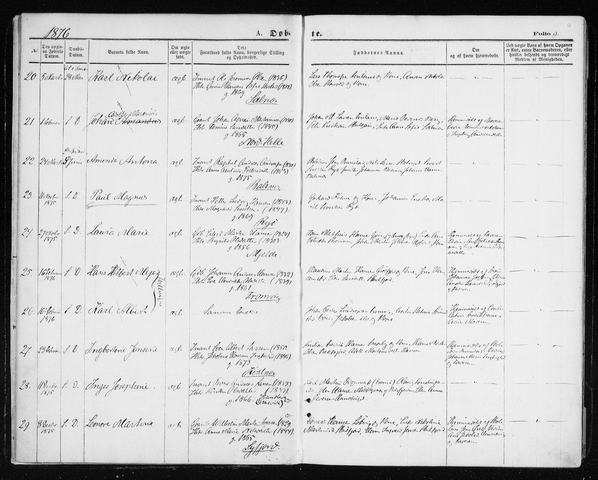 SATØ, Tromsøysund sokneprestkontor, G/Ga/L0003kirke: Ministerialbok nr. 3, 1875-1880, s. 9