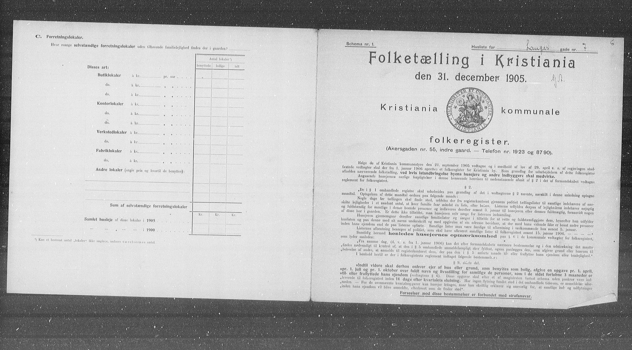 OBA, Kommunal folketelling 1905 for Kristiania kjøpstad, 1905, s. 29569