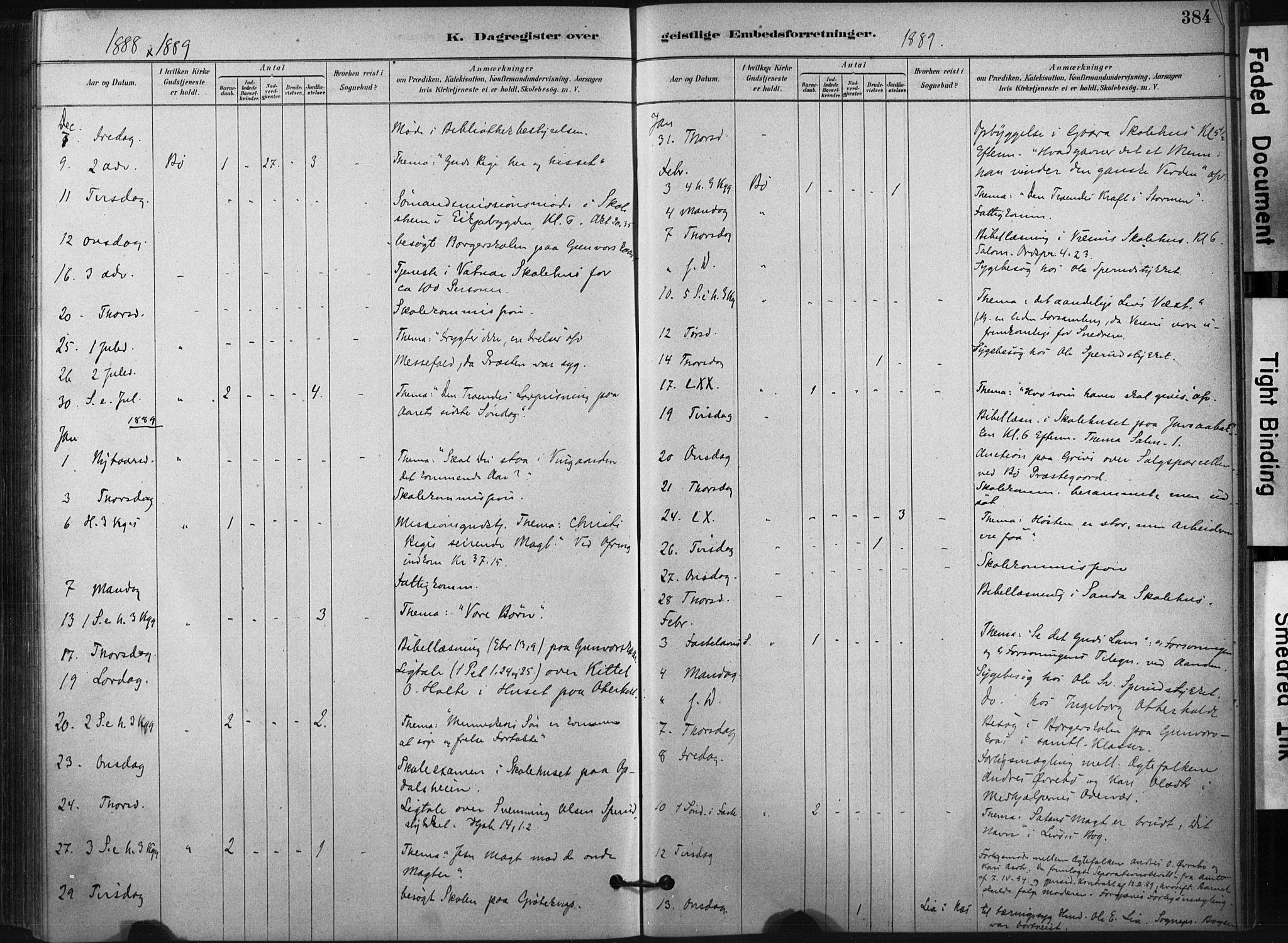 SAKO, Bø kirkebøker, F/Fa/L0010: Ministerialbok nr. 10, 1880-1892, s. 384