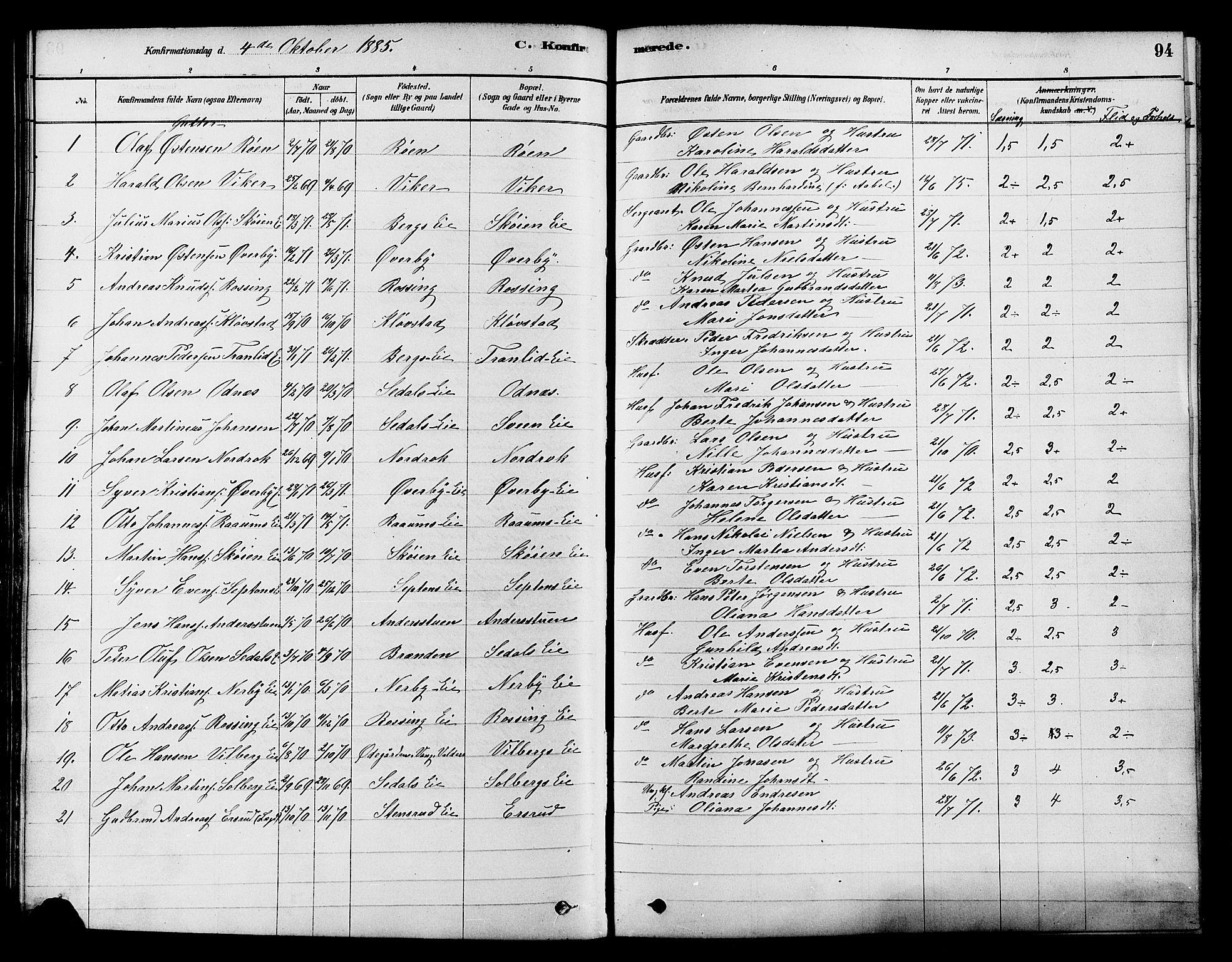 SAH, Søndre Land prestekontor, K/L0002: Ministerialbok nr. 2, 1878-1894, s. 94